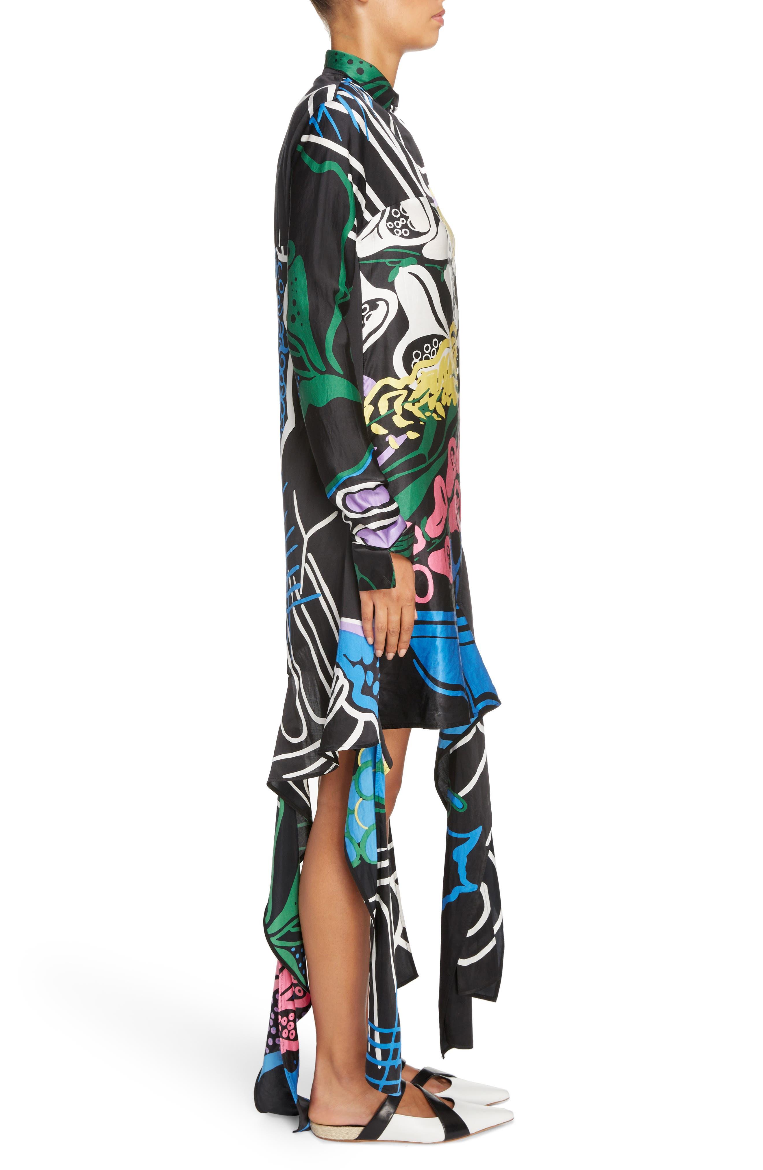 Foxglove Print Dress with Ribbon Detail,                             Alternate thumbnail 3, color,                             Black Foxglove Print