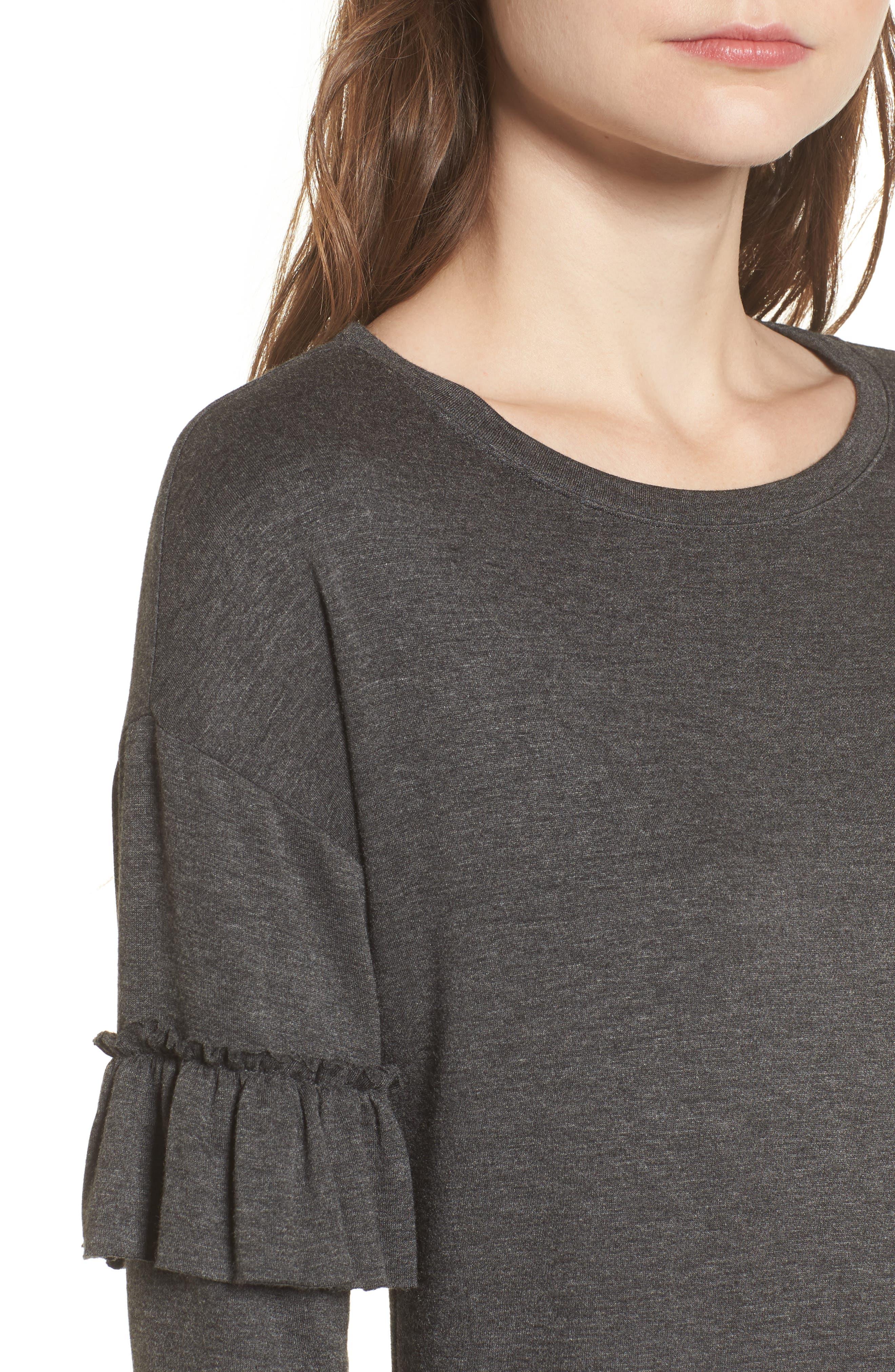 Ruffle Sleeve Sweater Dress,                             Alternate thumbnail 4, color,                             Charcoal