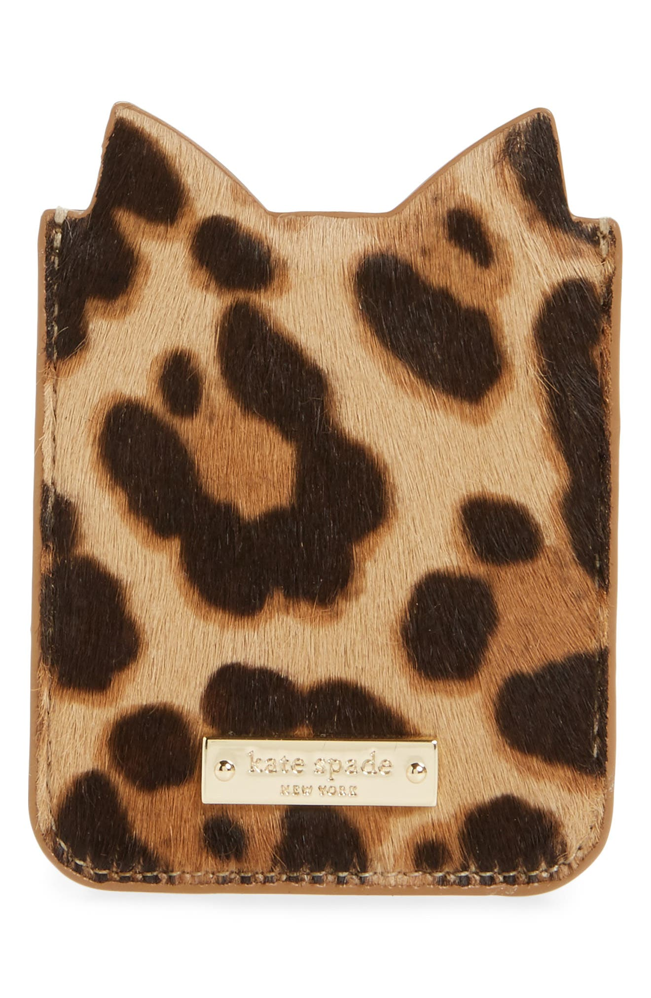 Alternate Image 2  - kate spade new york cat genuine calf hair iPhone 7/8 sticker pocket