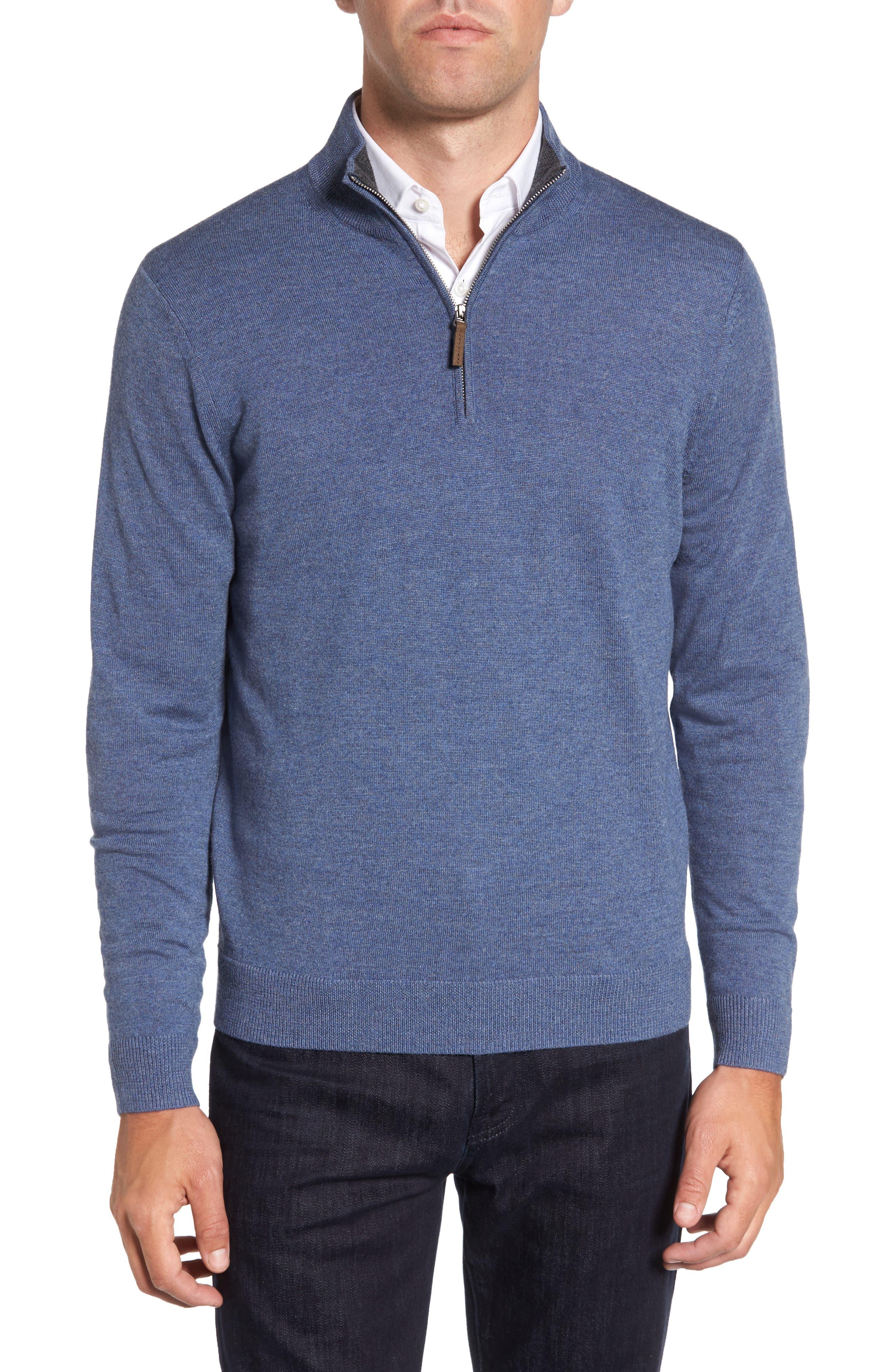 Quarter Zip Merino Wool Pullover,                             Main thumbnail 1, color,                             Navy Crown