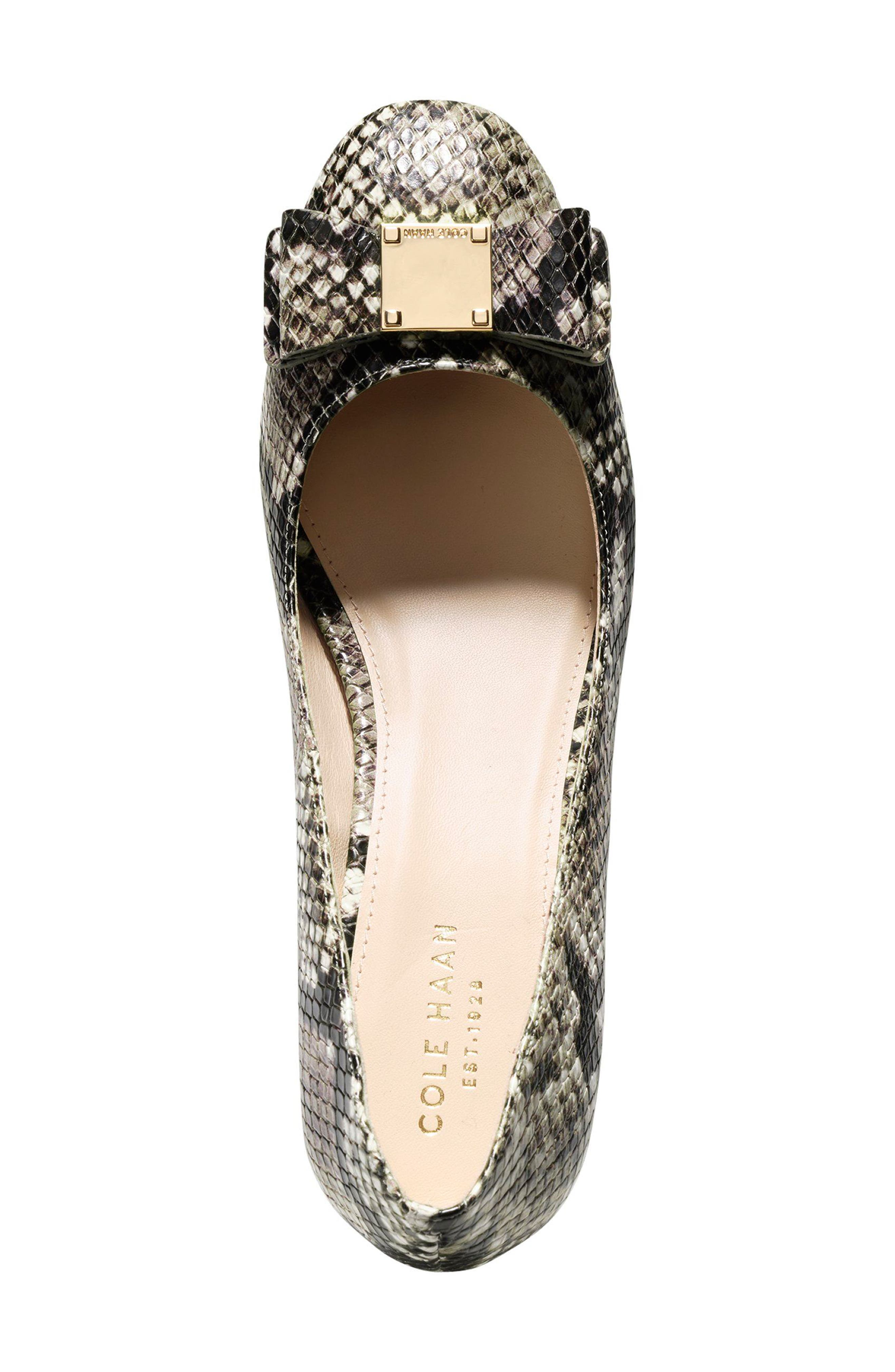 Tali Bow Pump,                             Alternate thumbnail 4, color,                             Beige Snake Print Leather