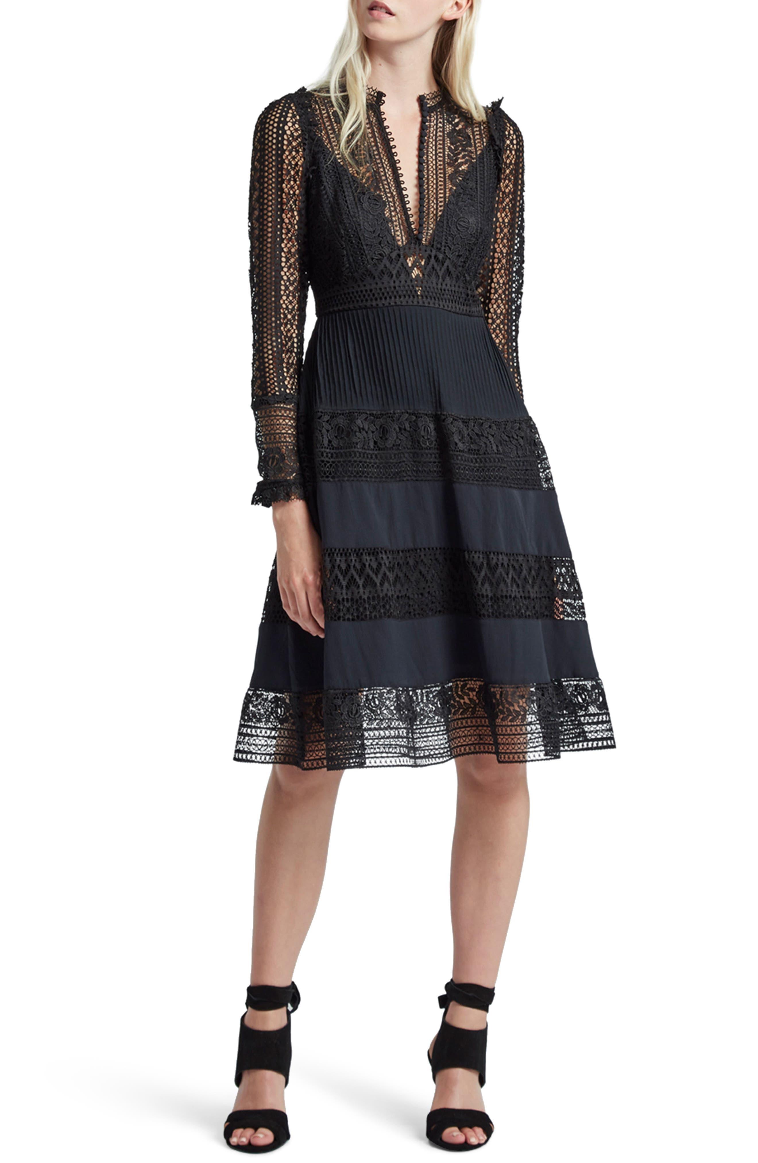 Orabelle Lace Fit & Flare Dress,                         Main,                         color, Black