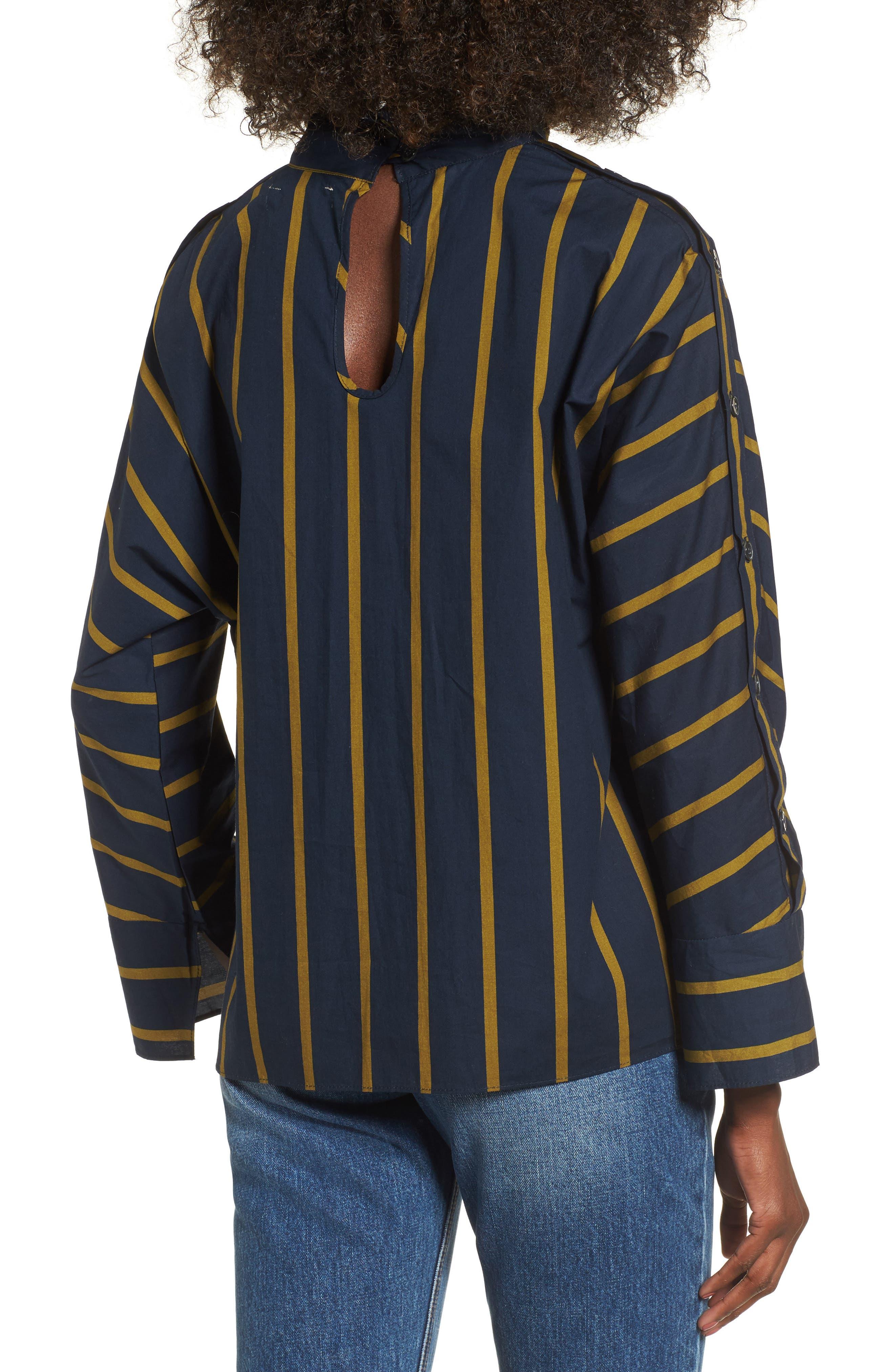 Stripe Button Sleeve Shirt,                             Alternate thumbnail 2, color,                             Navy