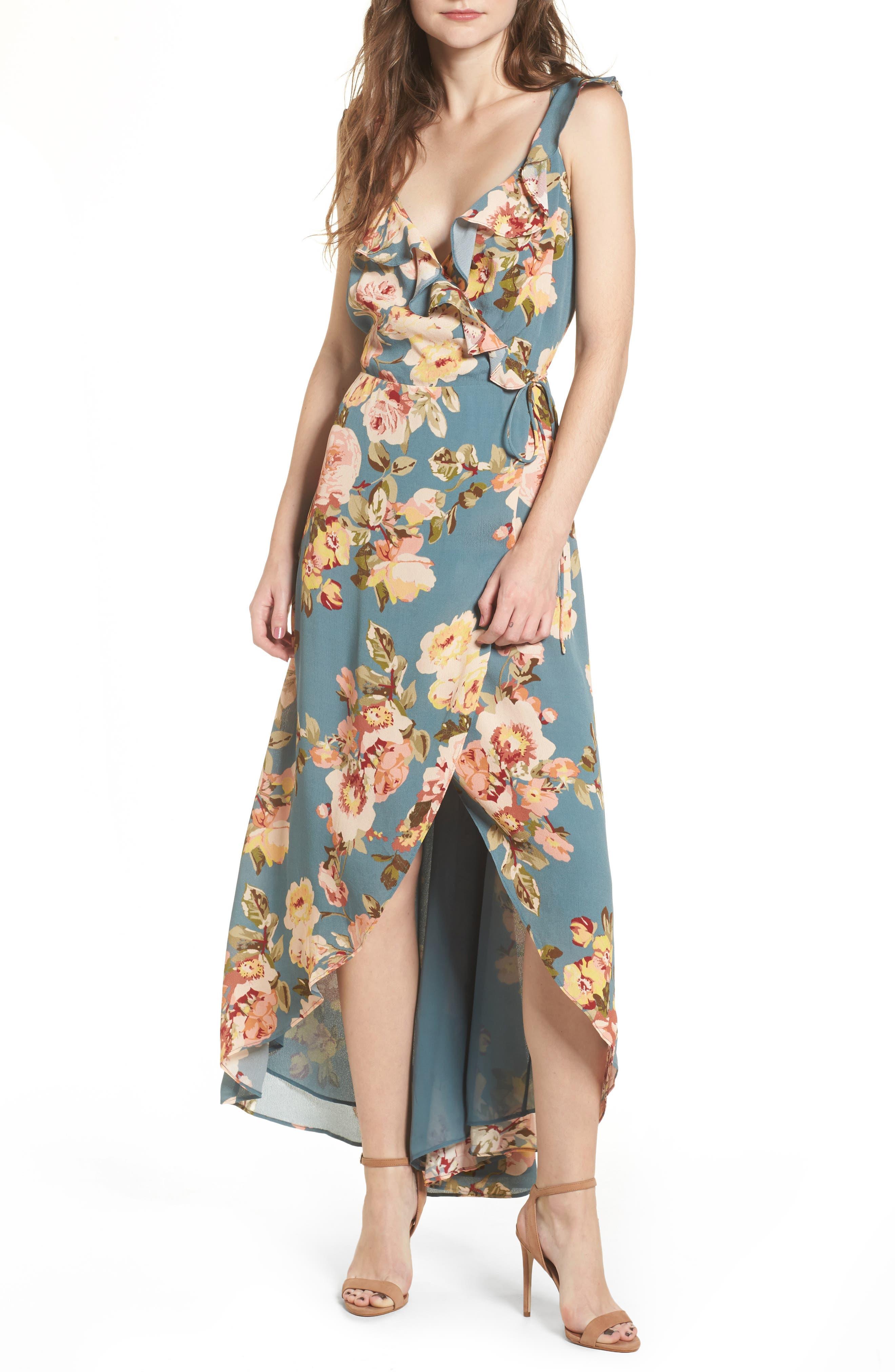 Fillmore Wrap Maxi Dress,                         Main,                         color, Sage Marissa Floral