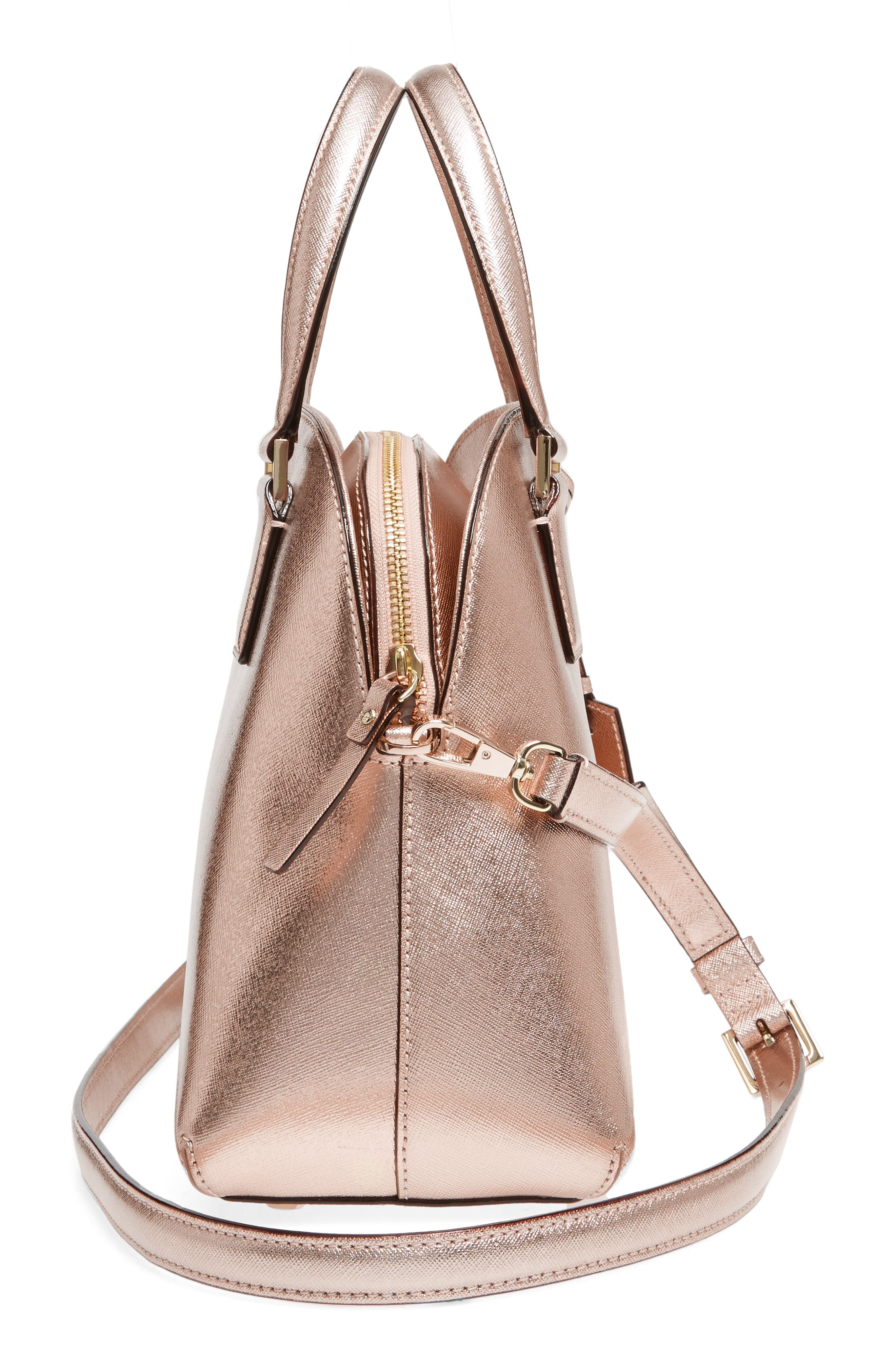 cameron street - lottie leather satchel,                             Alternate thumbnail 5, color,                             Rose Gold