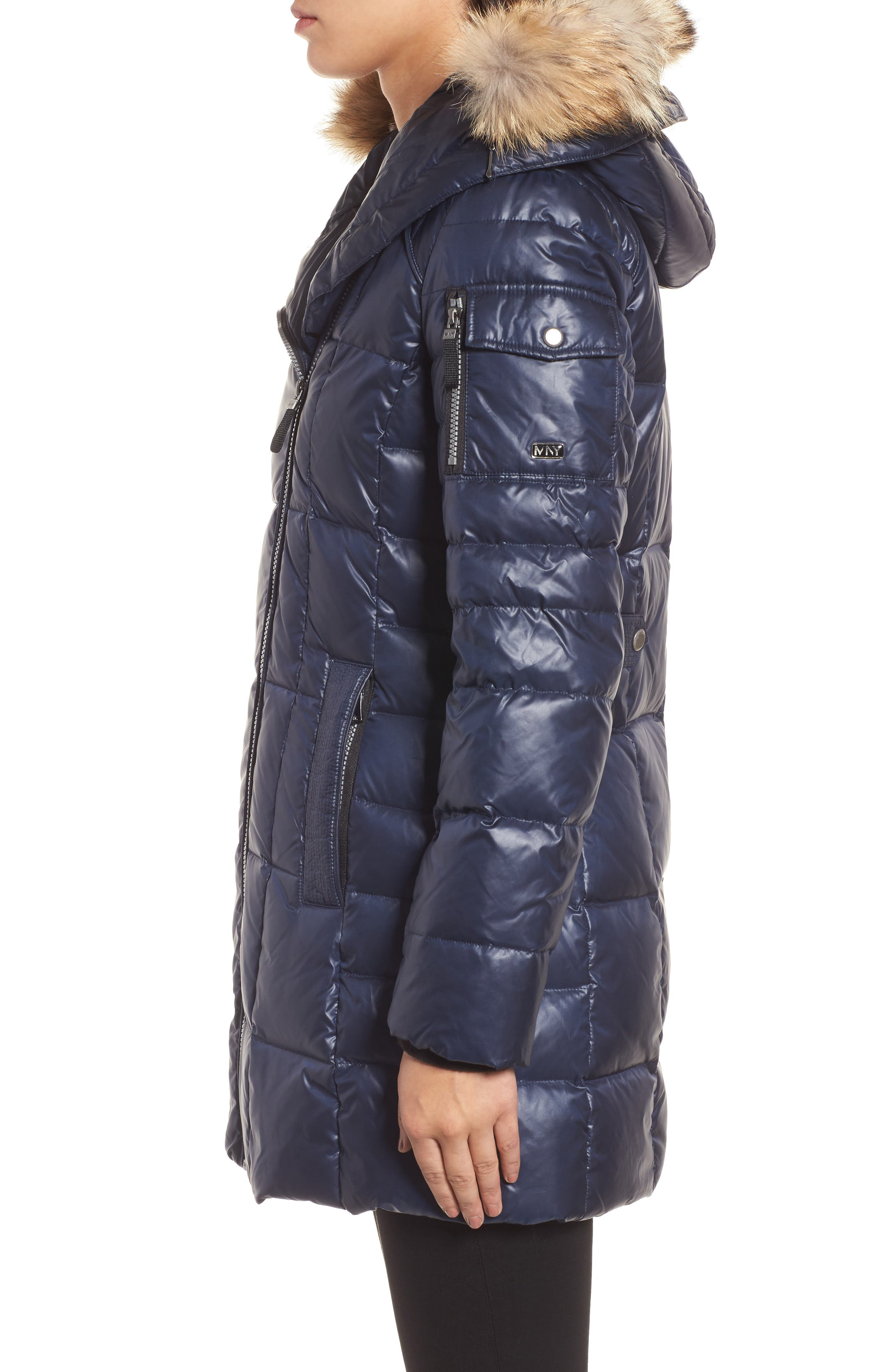 Down & Feather Fill Coat with Genuine Coyote Fur,                             Alternate thumbnail 3, color,                             Navy