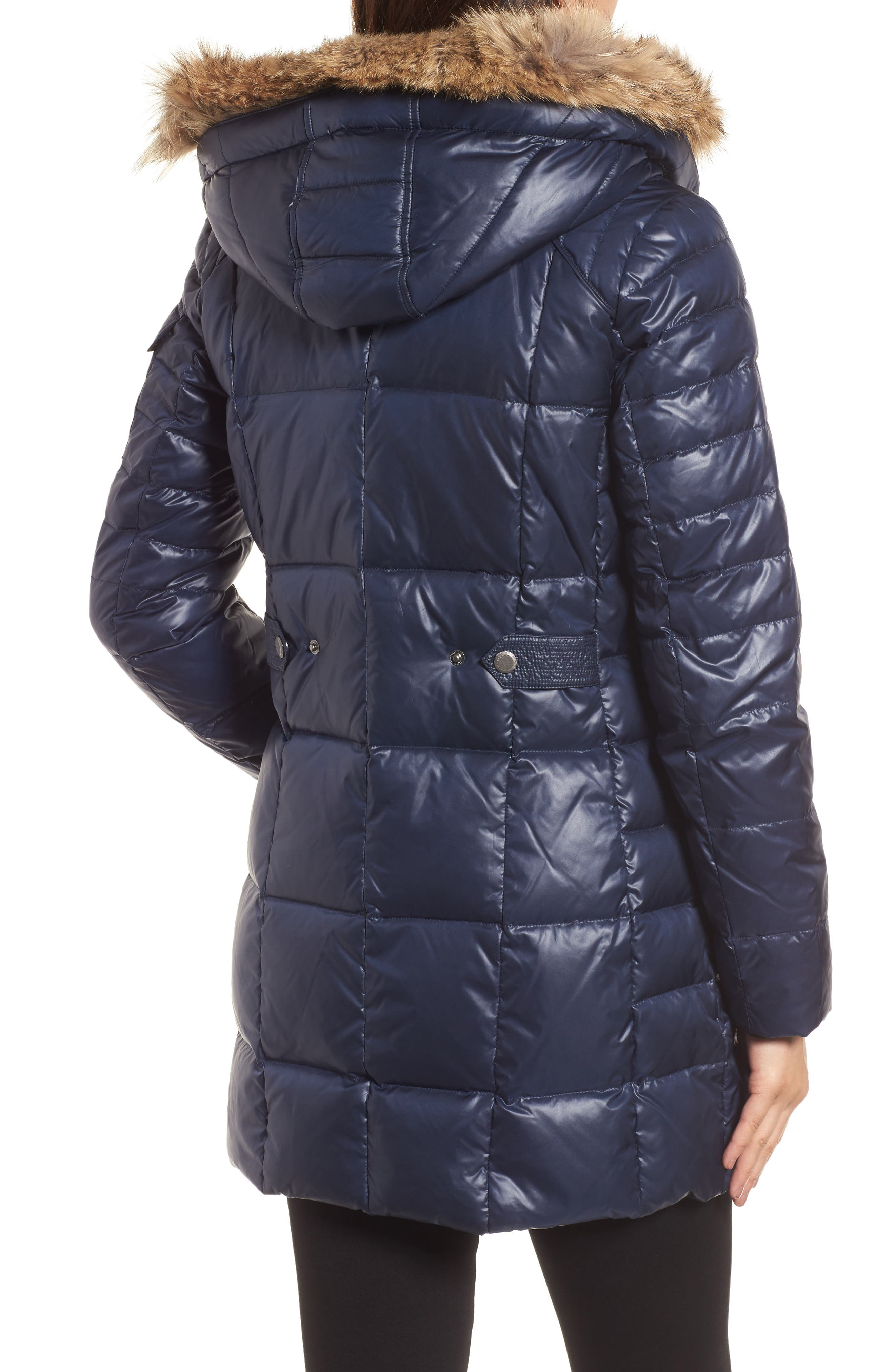 Down & Feather Fill Coat with Genuine Coyote Fur,                             Alternate thumbnail 2, color,                             Navy