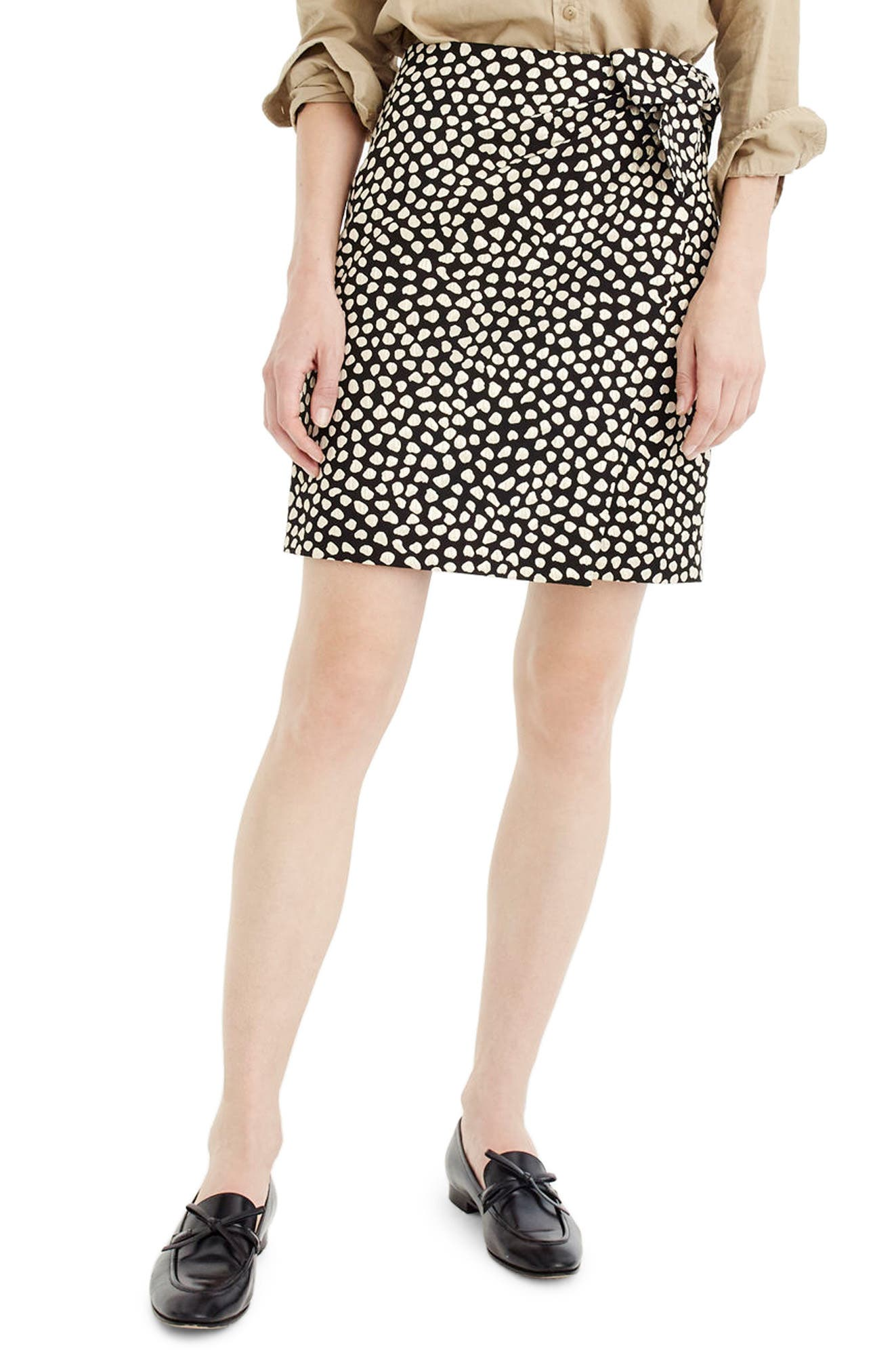 J.Crew Metallic Polka Dot Jacquard Skirt (Regular & Petite)