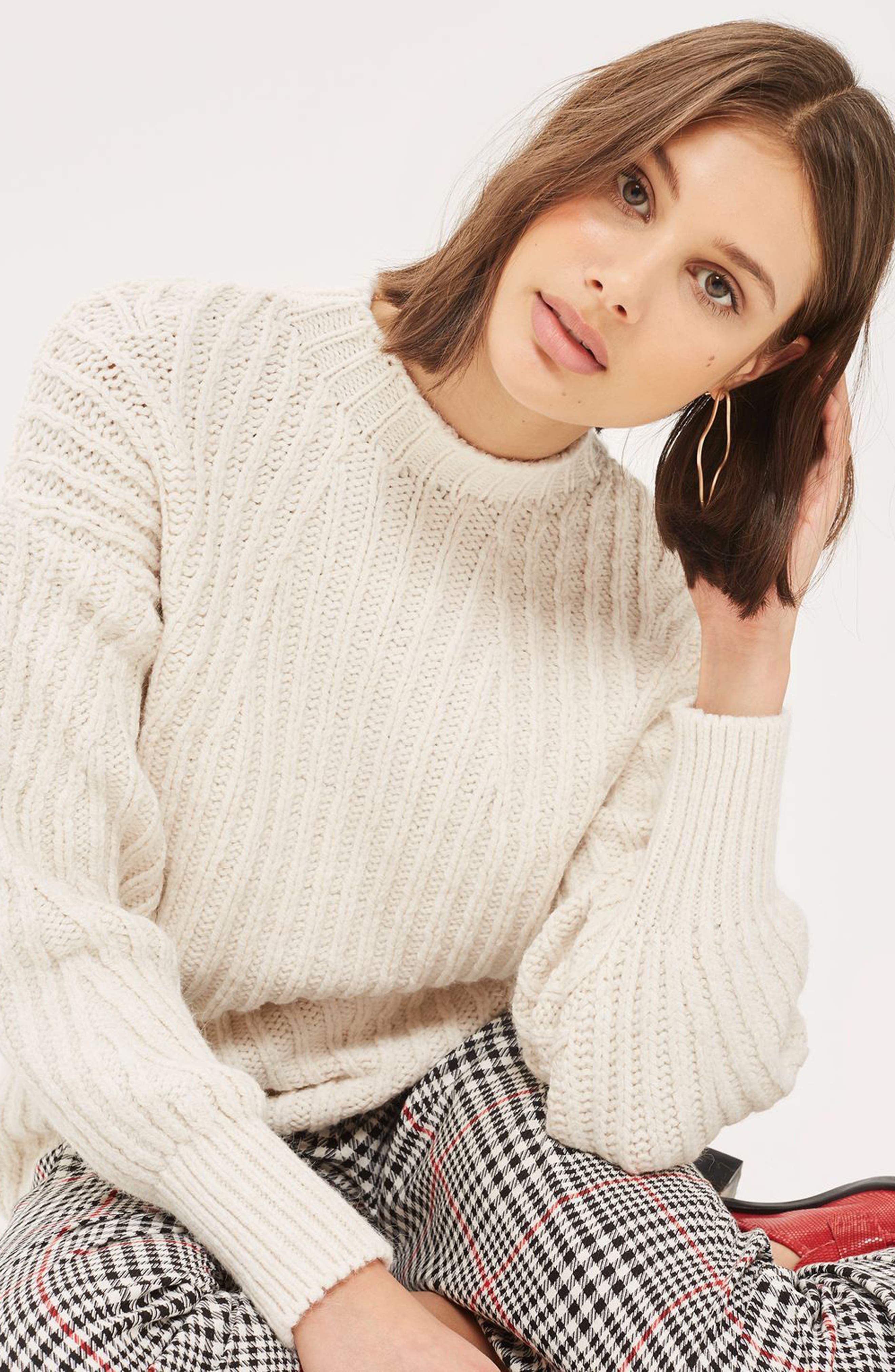 Deflected Rib Sweater,                             Alternate thumbnail 3, color,                             Ivory
