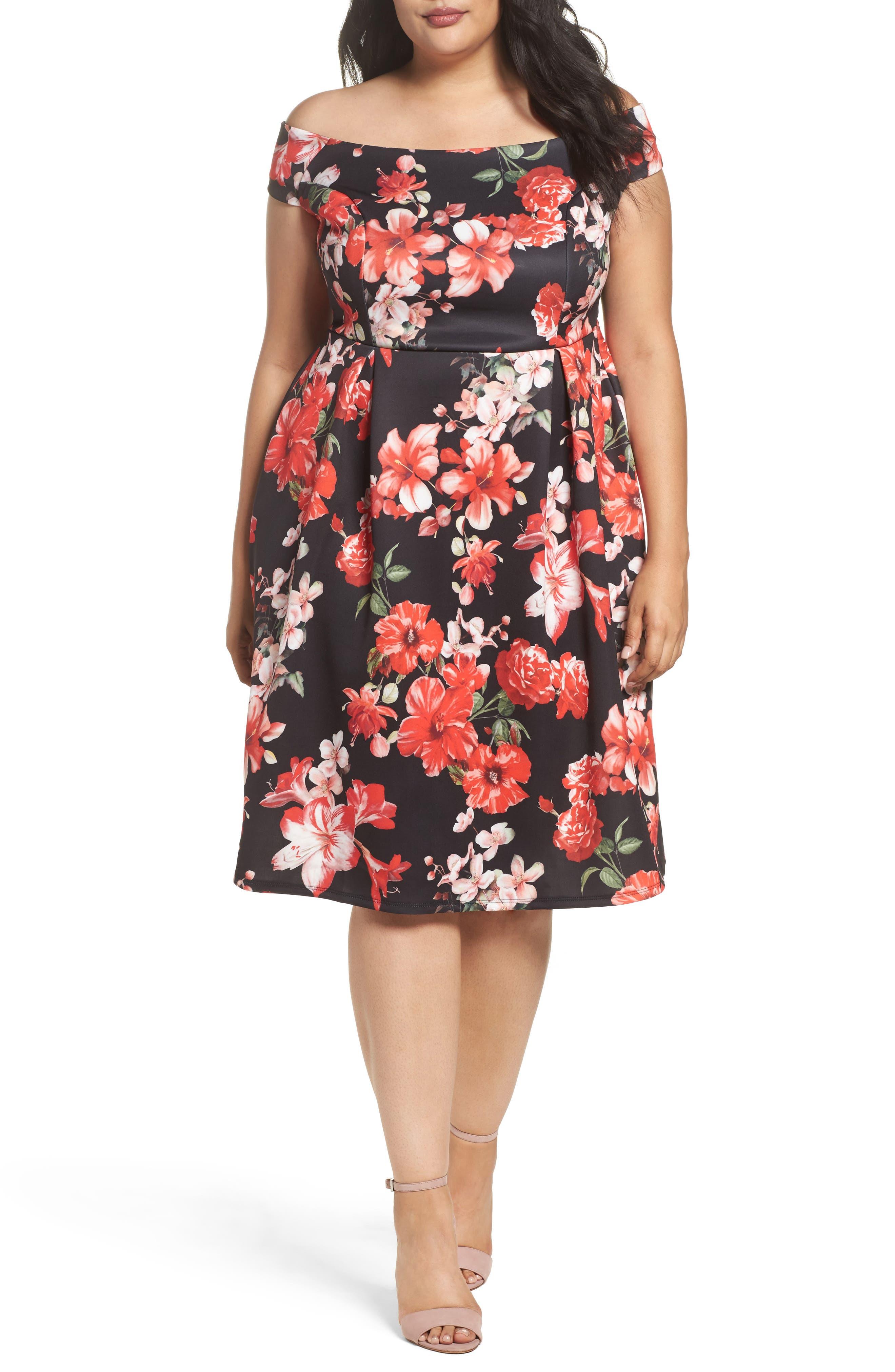 Floral Fit & Flare Dress,                         Main,                         color, Pink