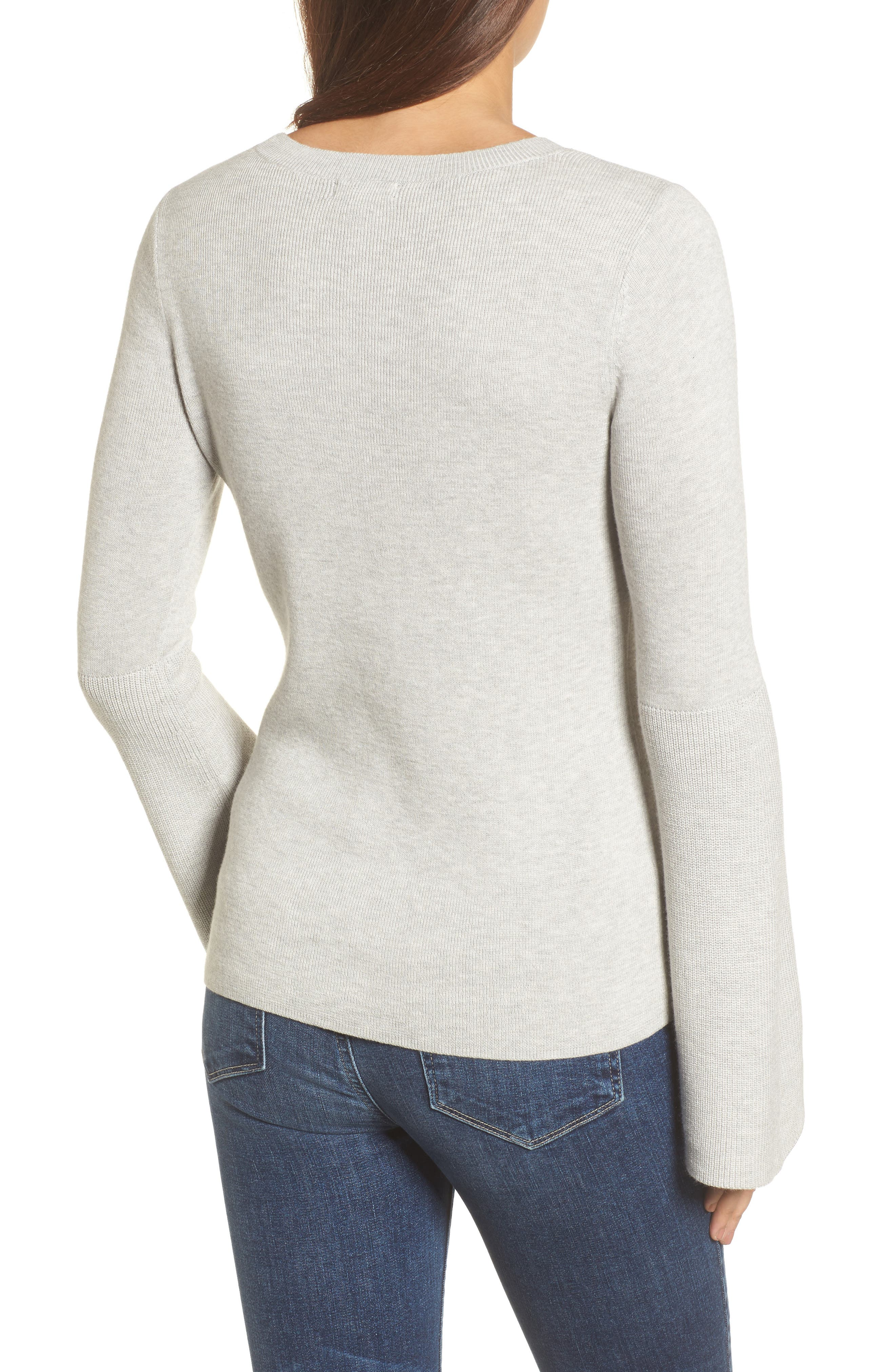 Bell Sleeve Rib Sweater,                             Alternate thumbnail 2, color,                             Grey Light Heather