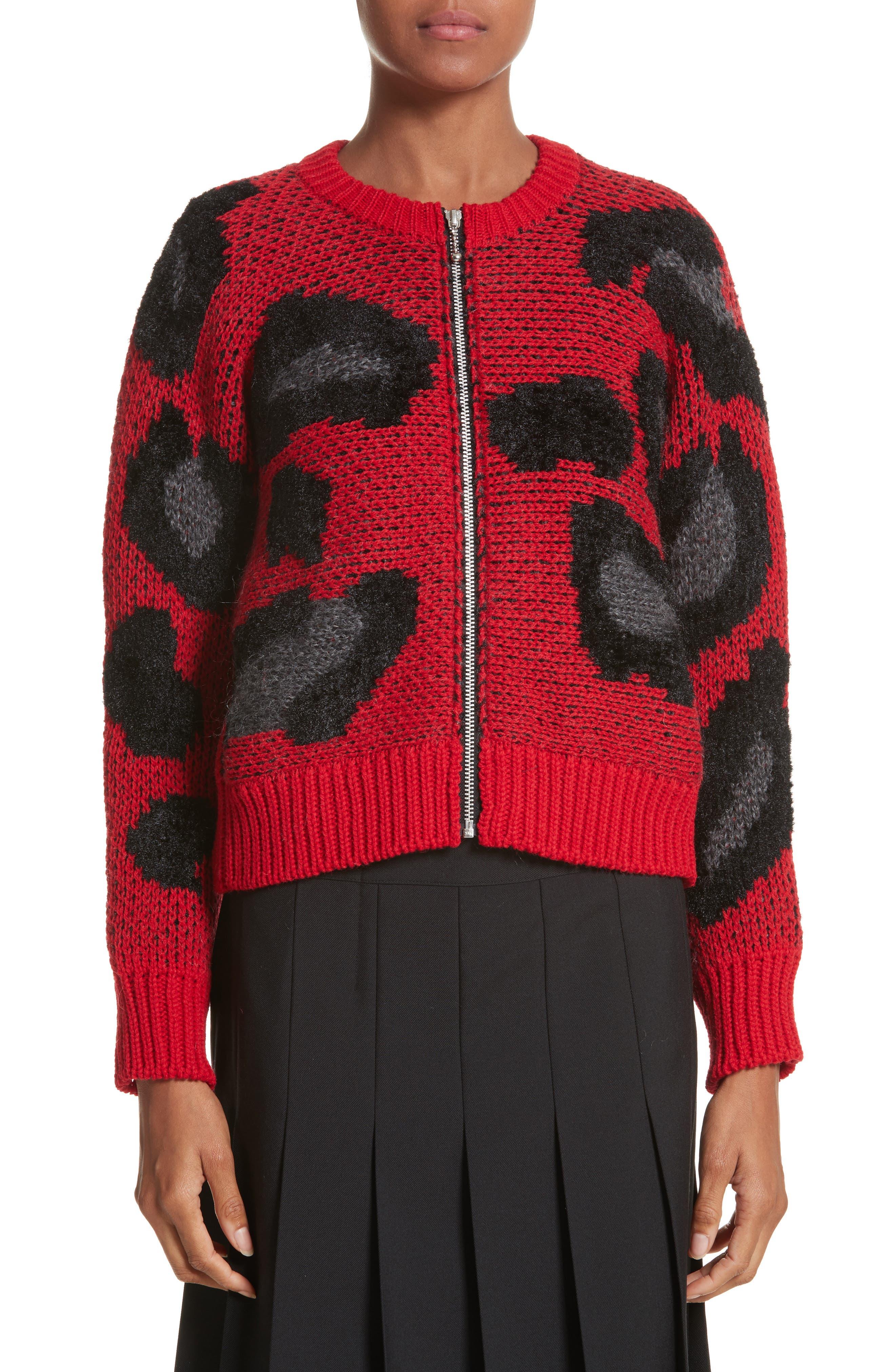 Cheetah Print Zip Cardigan,                         Main,                         color, Red