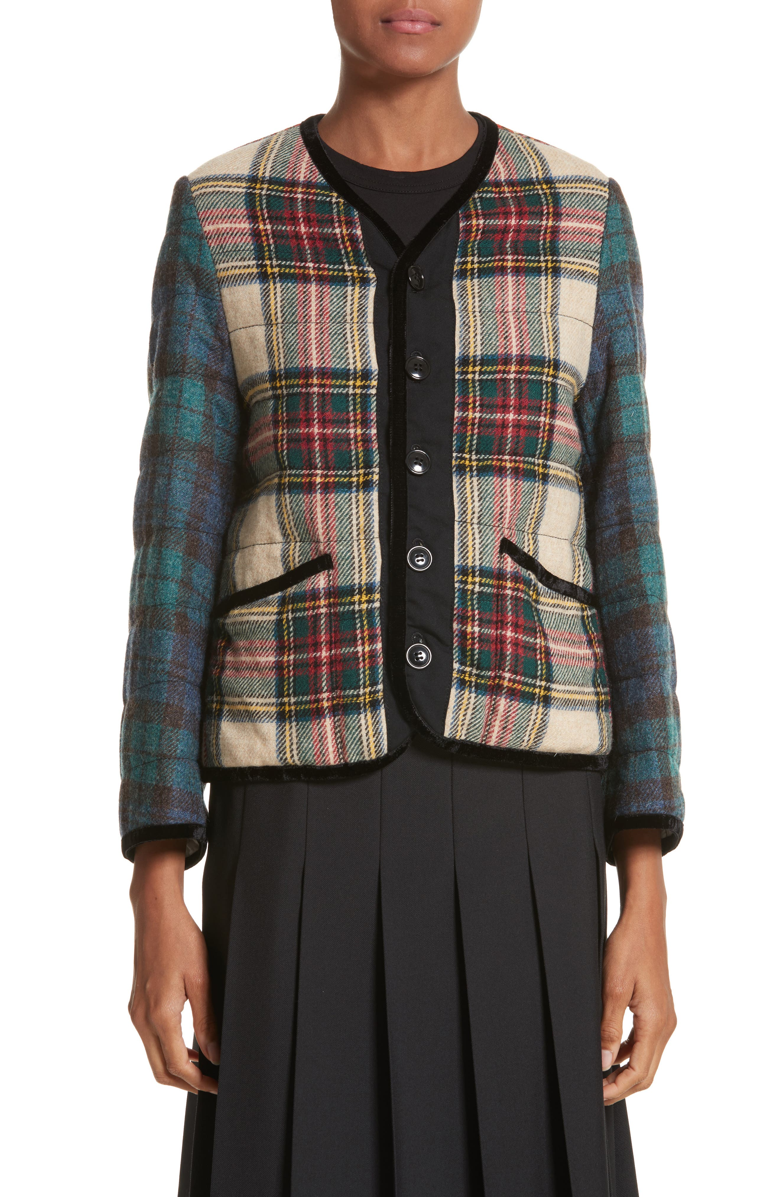 Mixed Tartan Wool Jacket,                         Main,                         color, Off White/Red