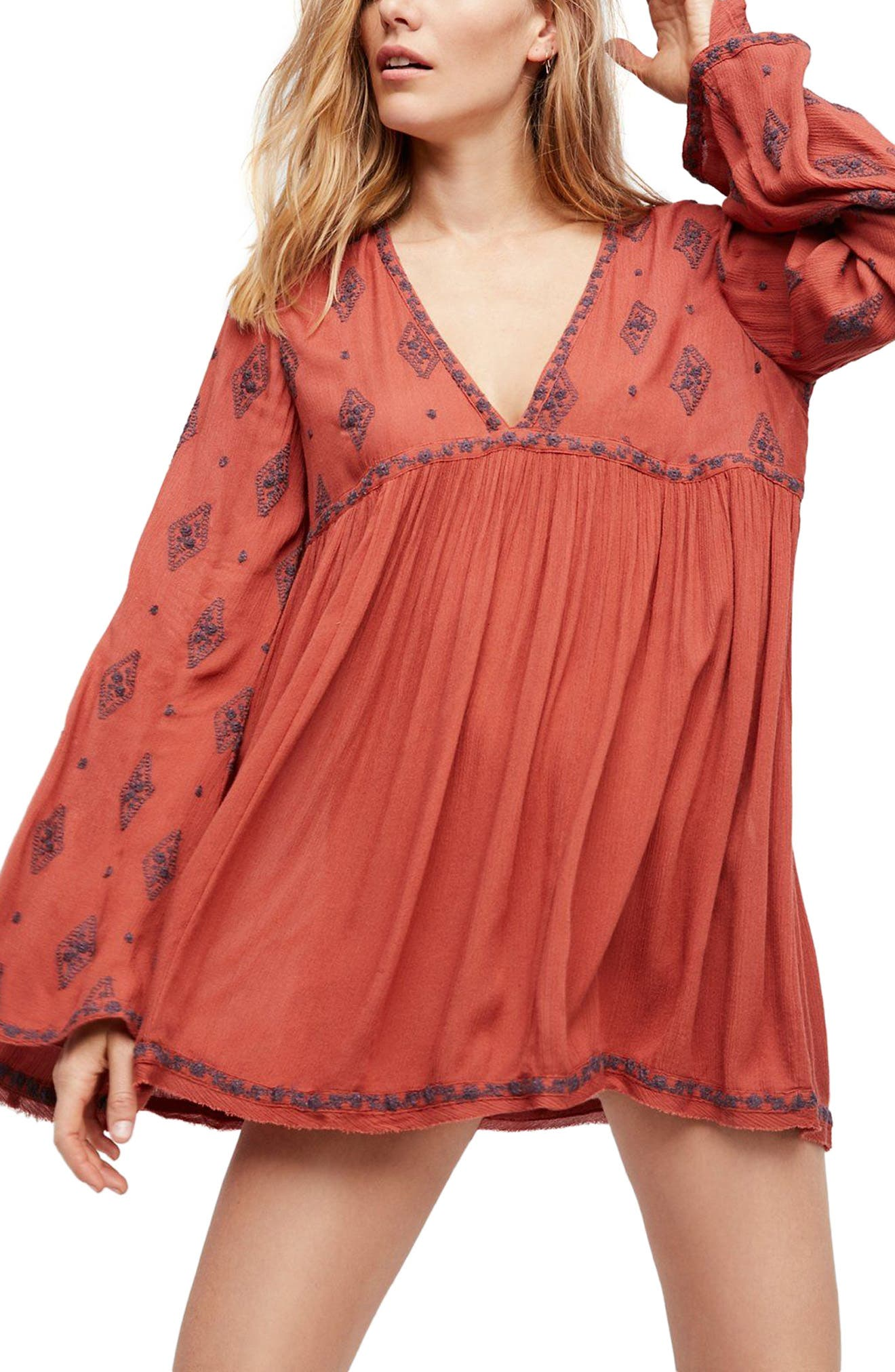 Embroidered Bell Sleeve Top,                         Main,                         color, Cinnamon