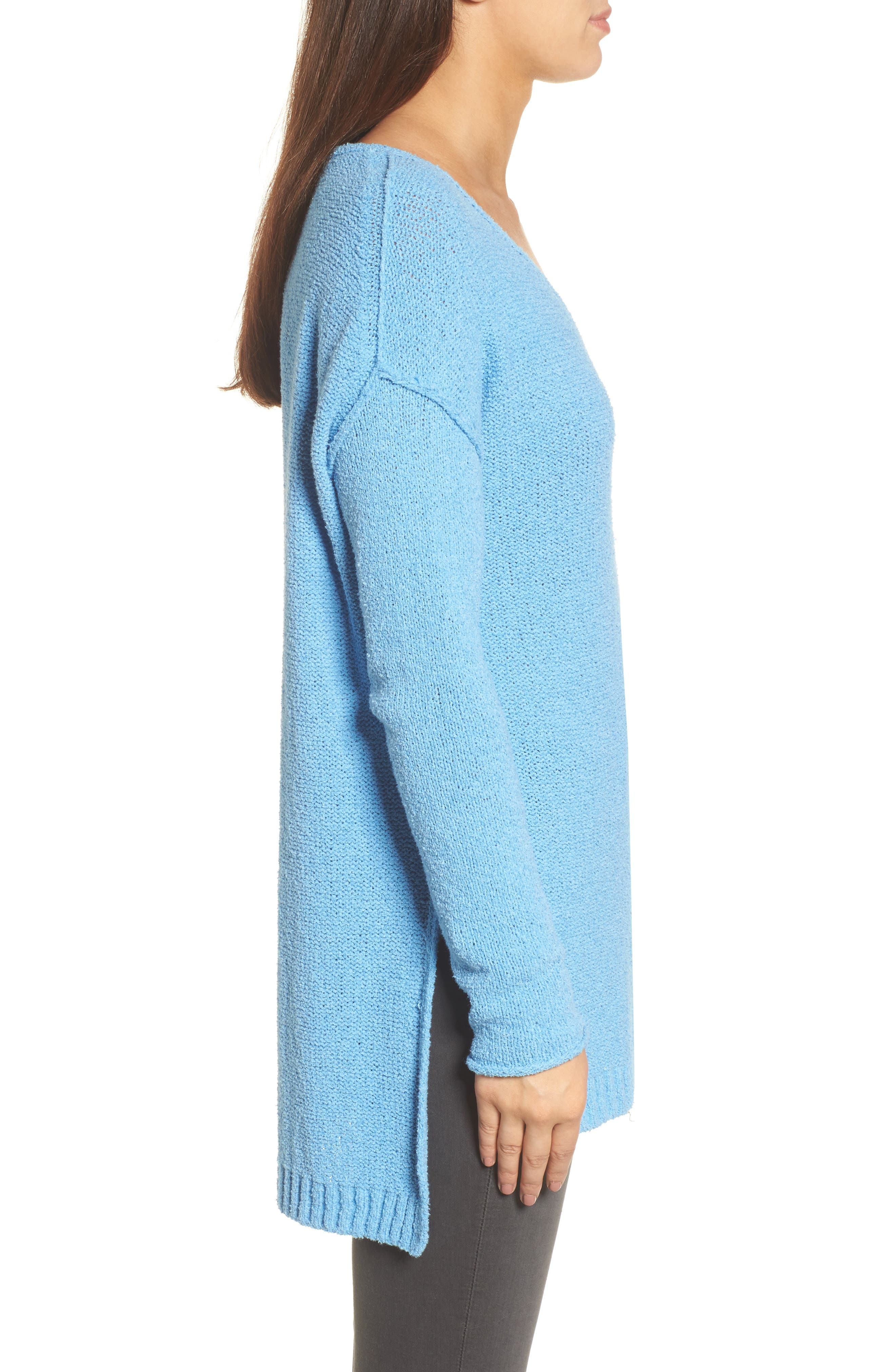 Tunic Sweater,                             Alternate thumbnail 3, color,                             Blue Lichen