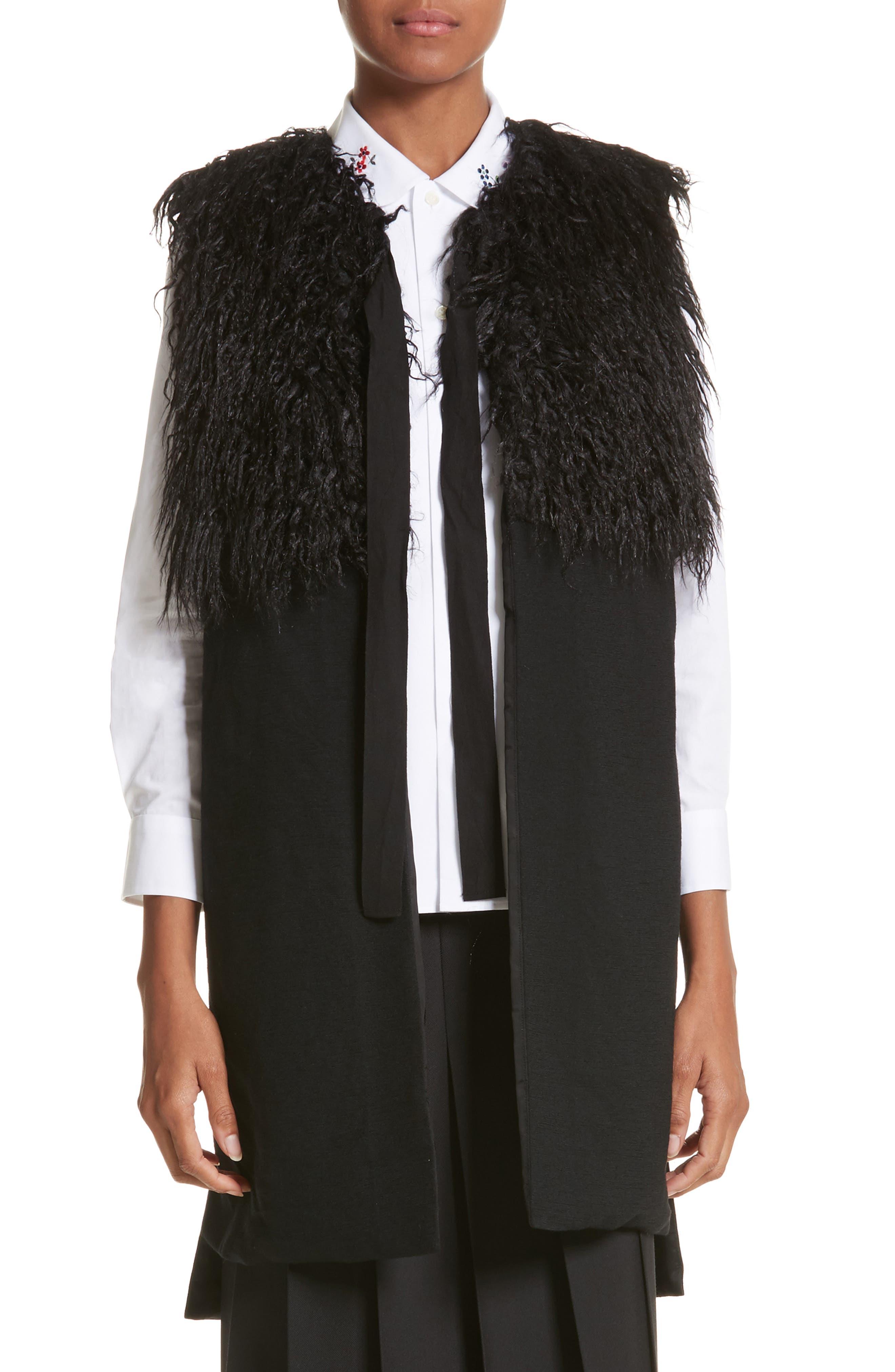 Tie Neck Gilet Vest with Faux Fur Trim,                         Main,                         color, Black