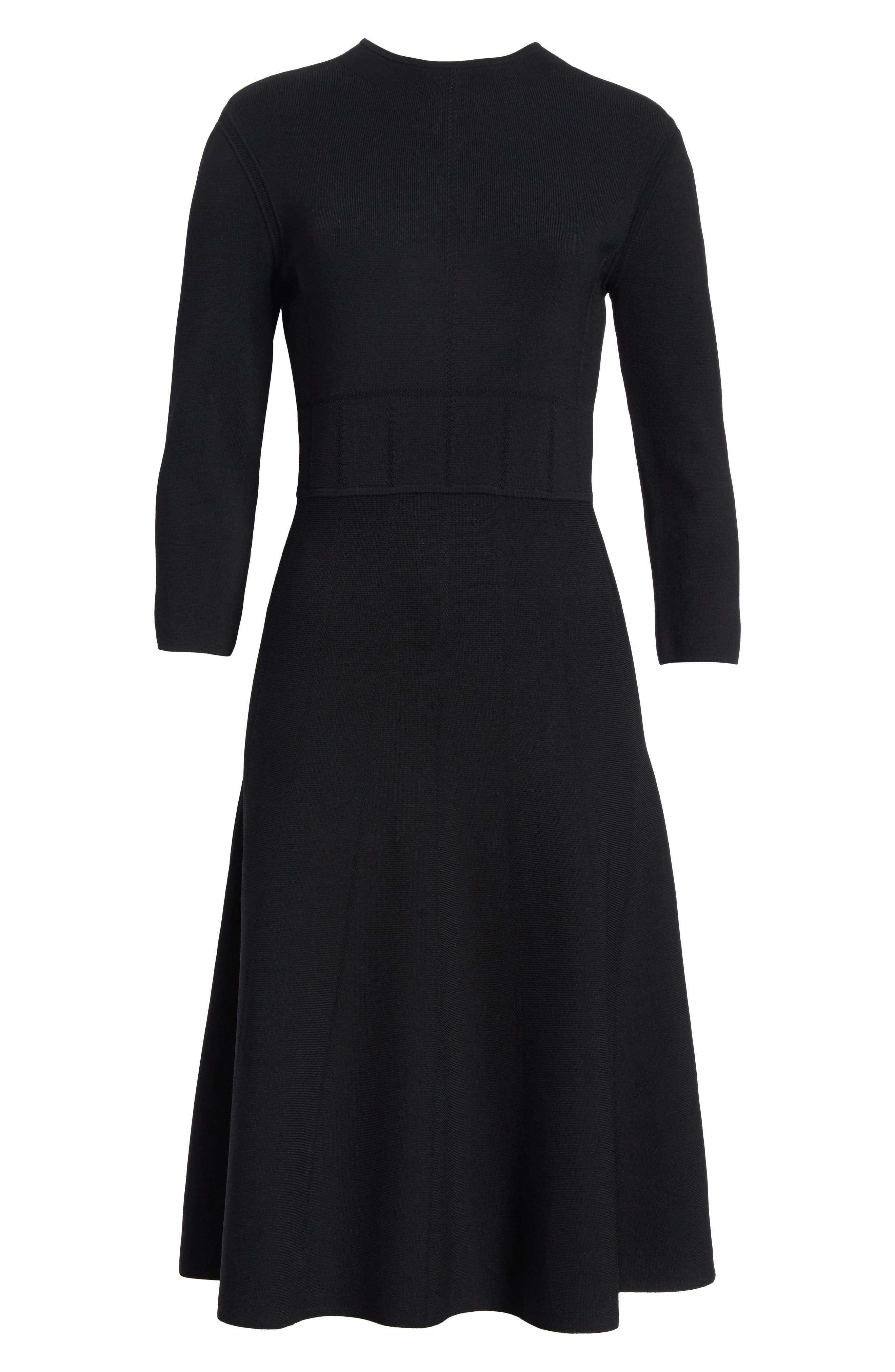 High Neck Fit & Flare Dress,                             Alternate thumbnail 7, color,                             Black
