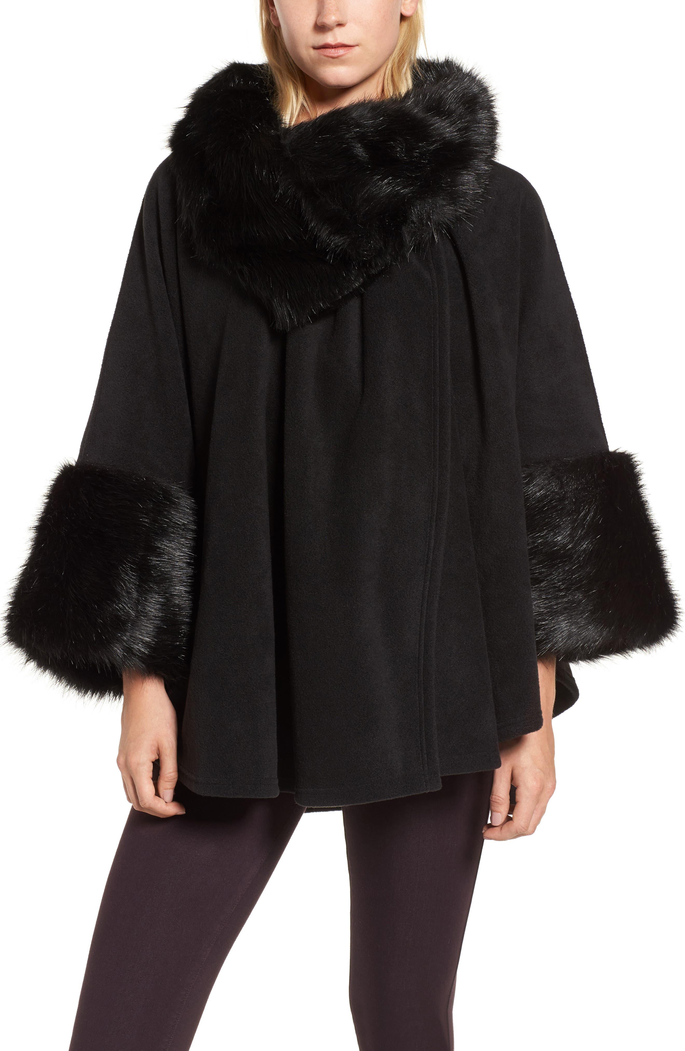 Chelsea Cape with Faux Fur Trim,                             Main thumbnail 1, color,                             Black/ Black Mink