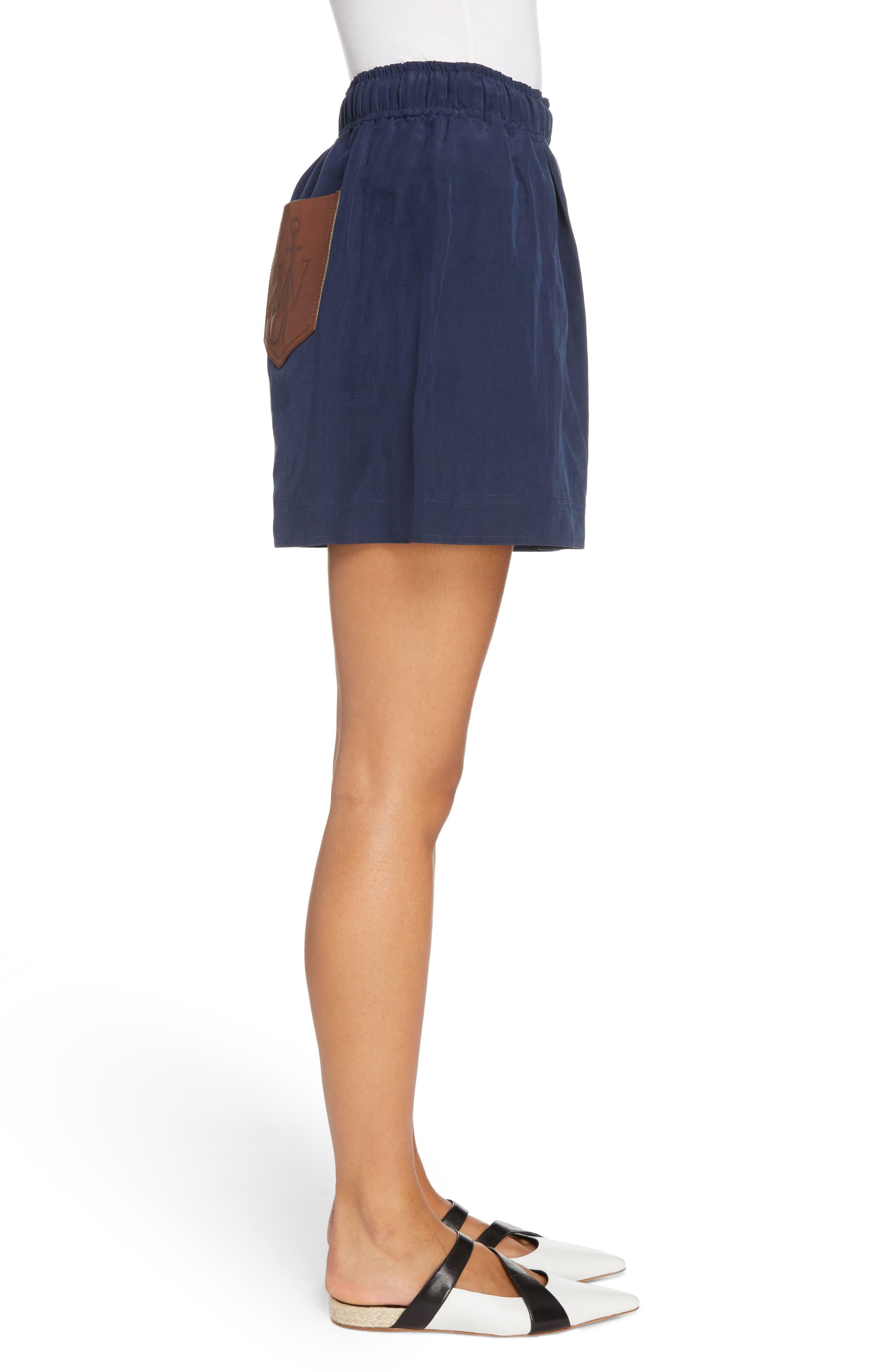 Leather Pocket Linen & Silk Boxer Shorts,                             Alternate thumbnail 6, color,                             Navy
