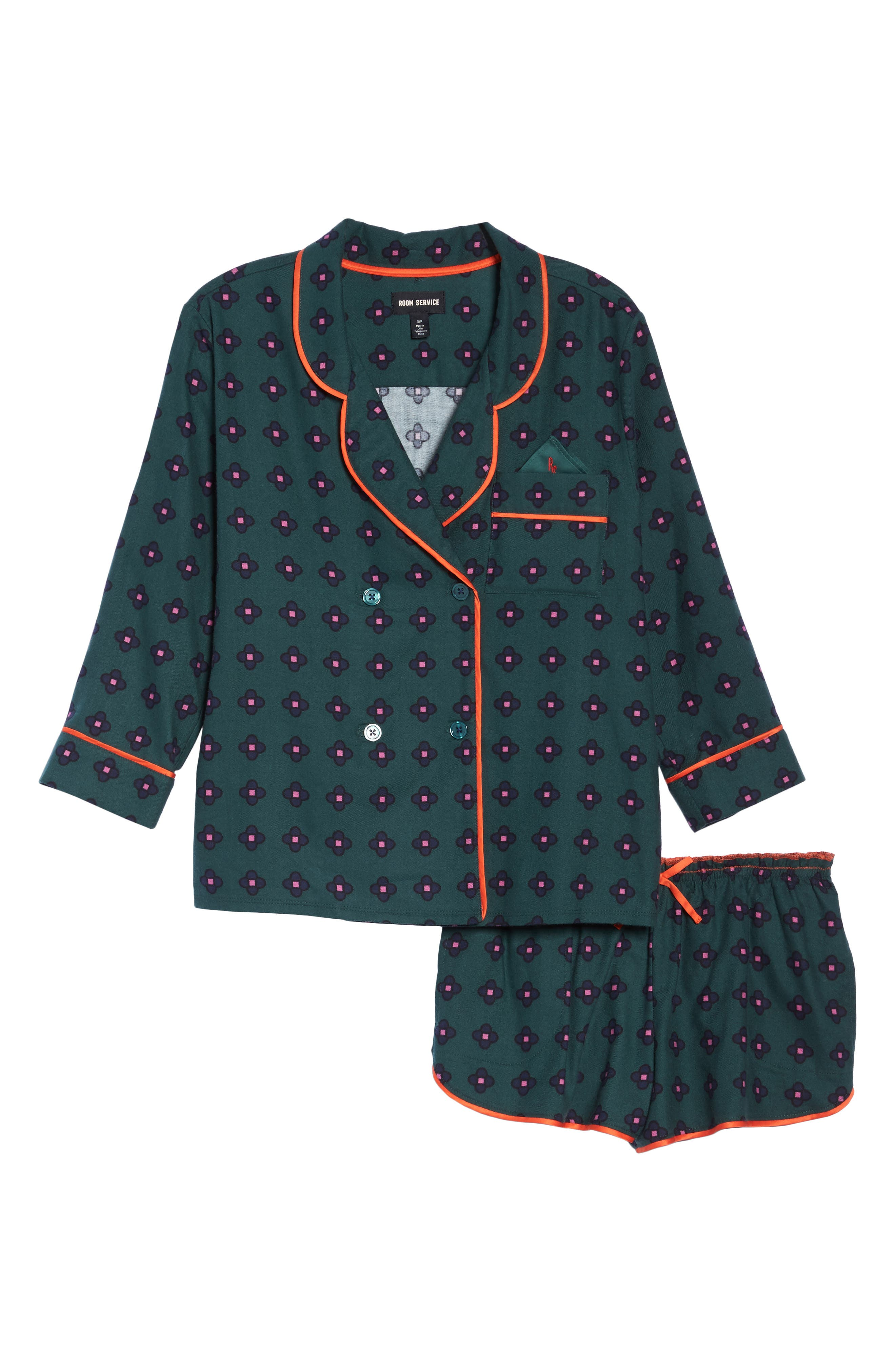 Shorty Flannel Pajamas,                             Alternate thumbnail 7, color,                             Green