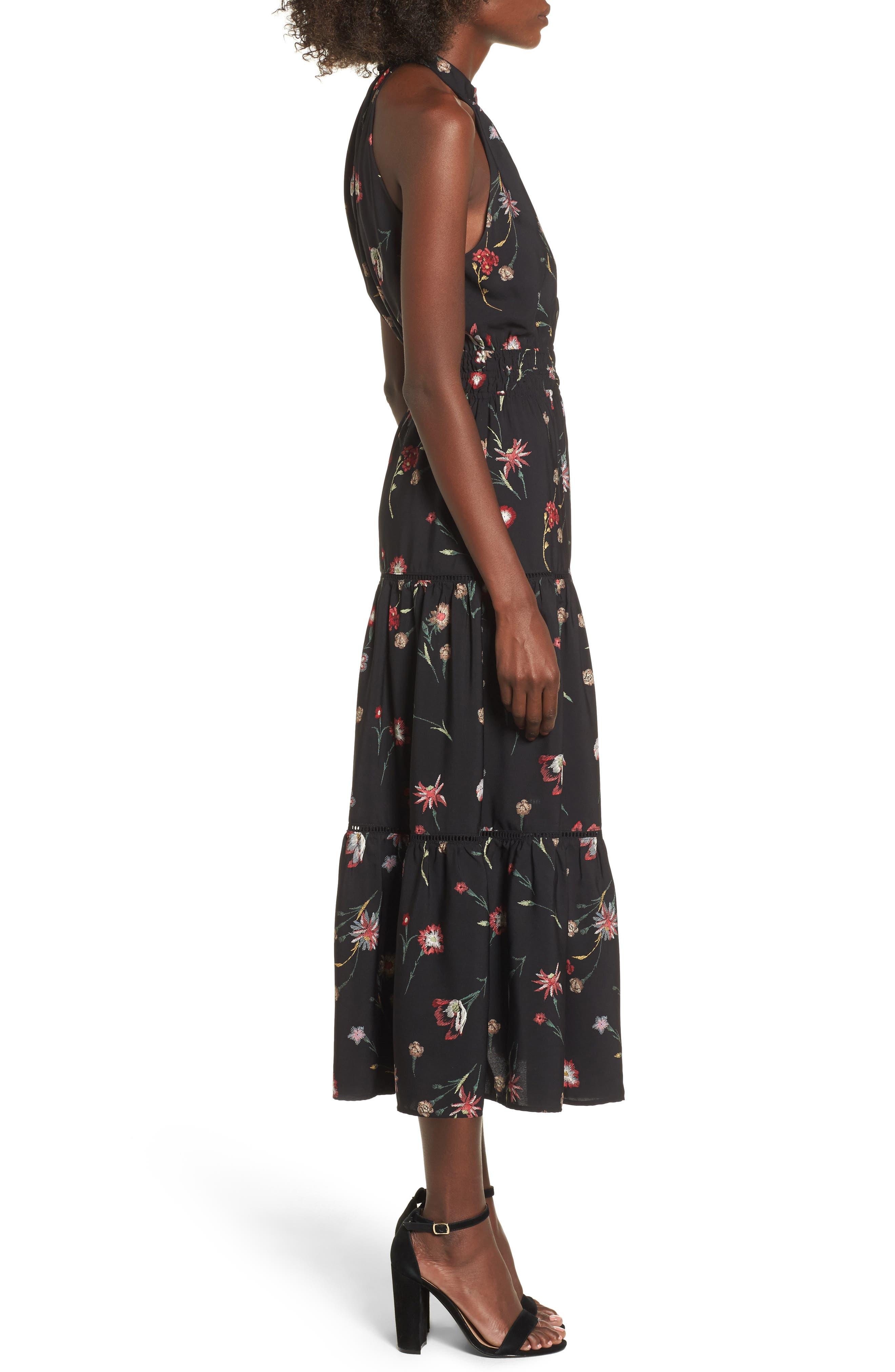 Fleur Halter Midi Dress,                             Alternate thumbnail 3, color,                             Black Floral
