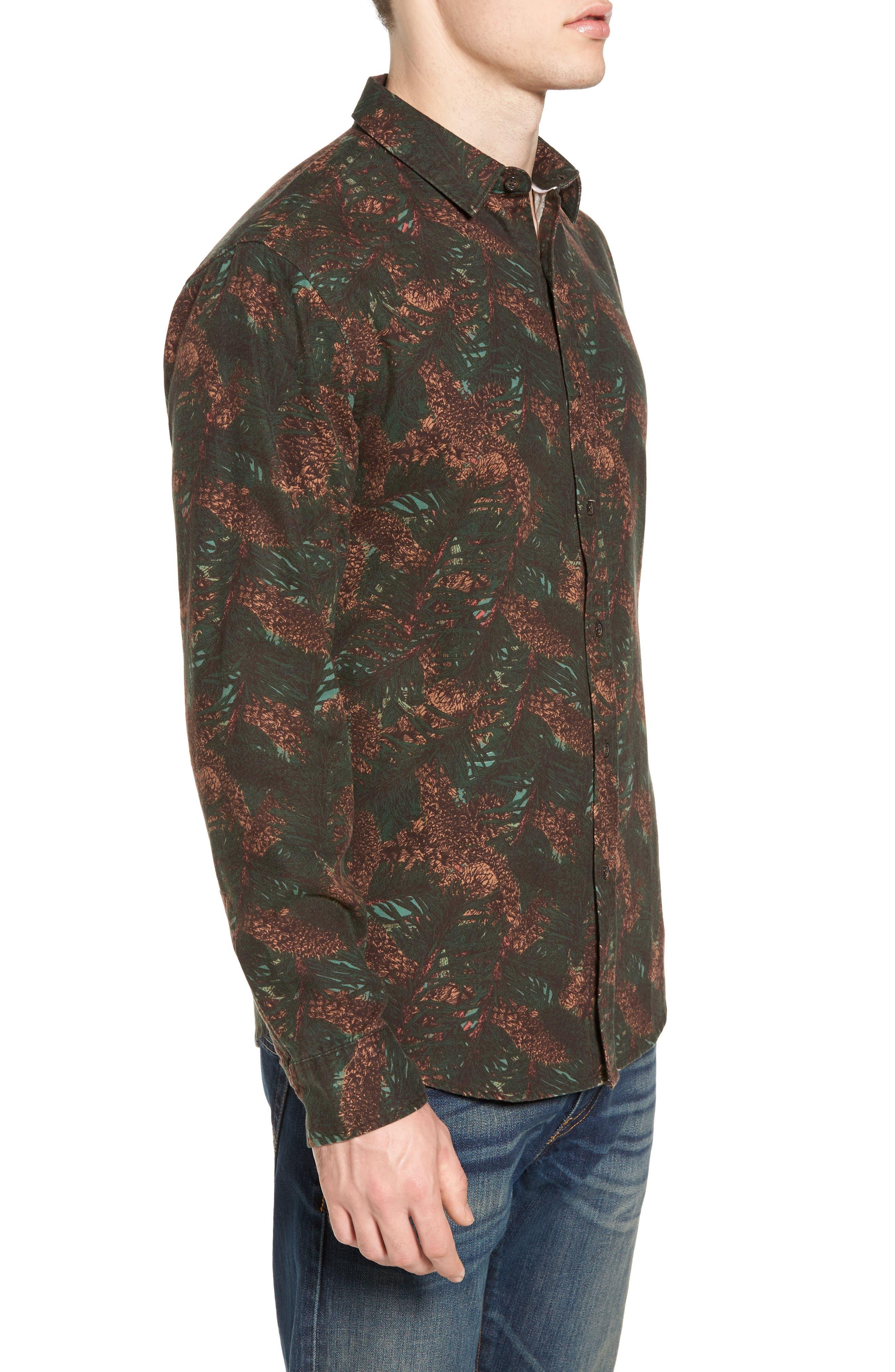 Print Flannel Shirt,                             Alternate thumbnail 3, color,                             Green Pinecone Print