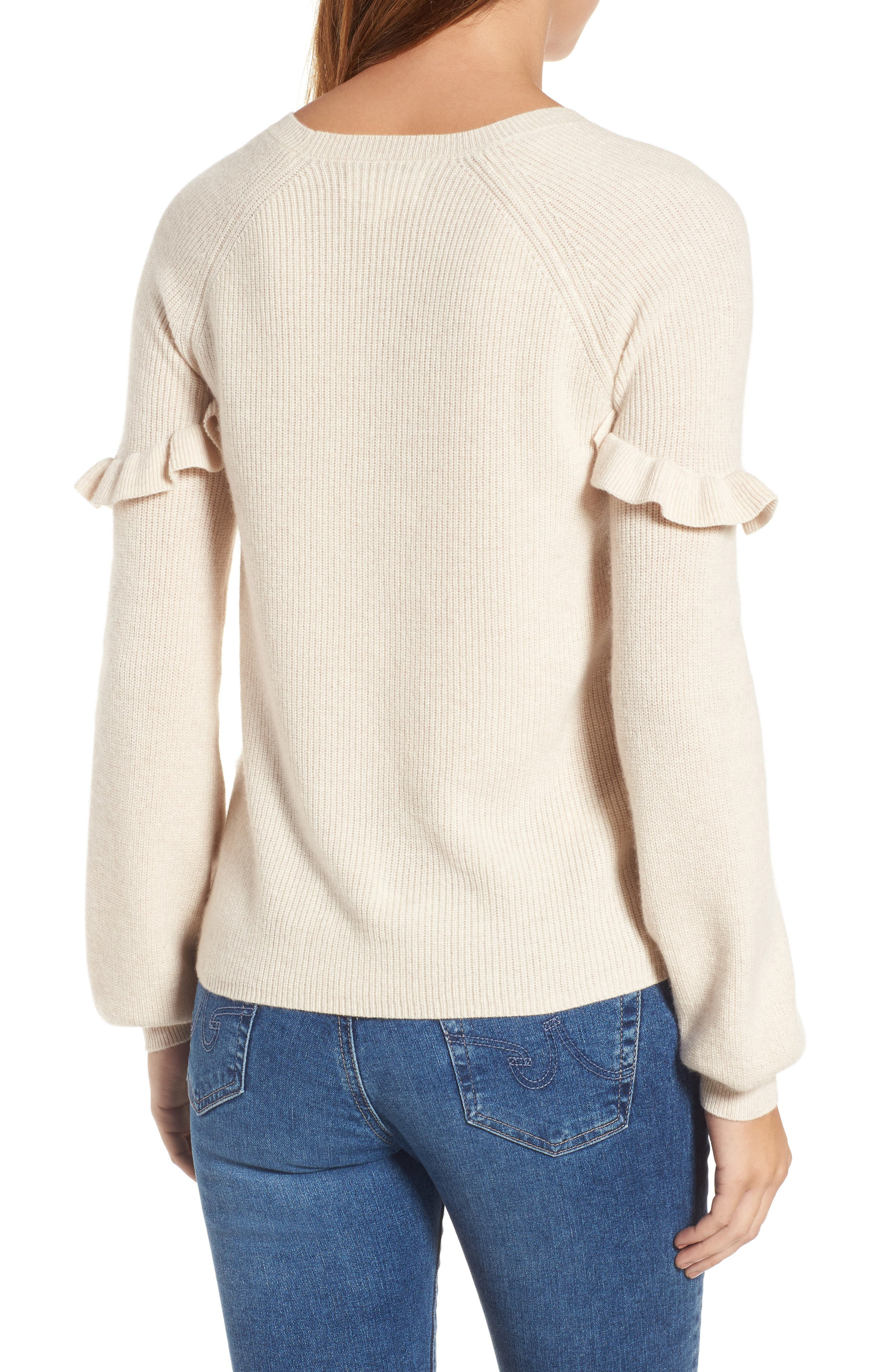 Cashmere Ruffle Shoulder Sweater,                             Alternate thumbnail 2, color,                             Bisque