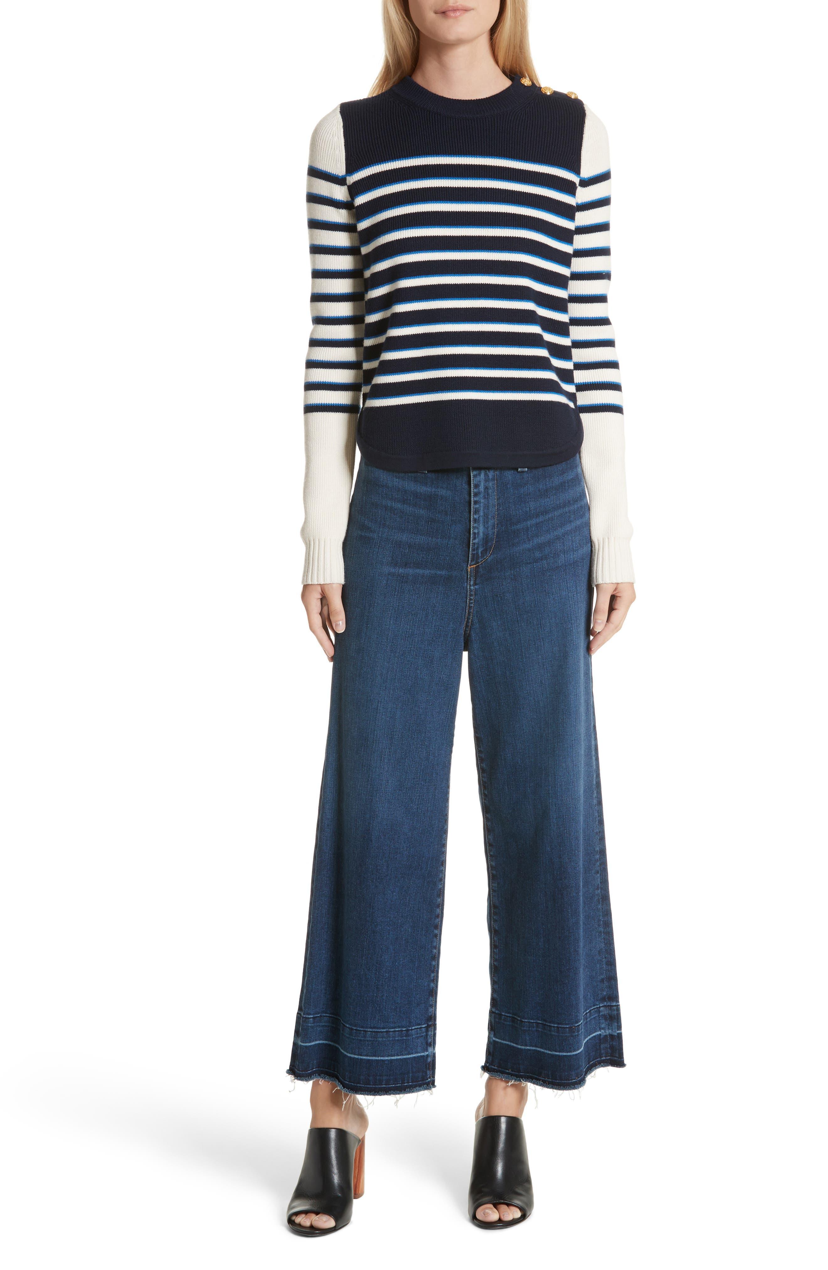 Amos Stripe Merino Wool Sweater,                             Alternate thumbnail 7, color,                             Navy/ Ivory/ Blue