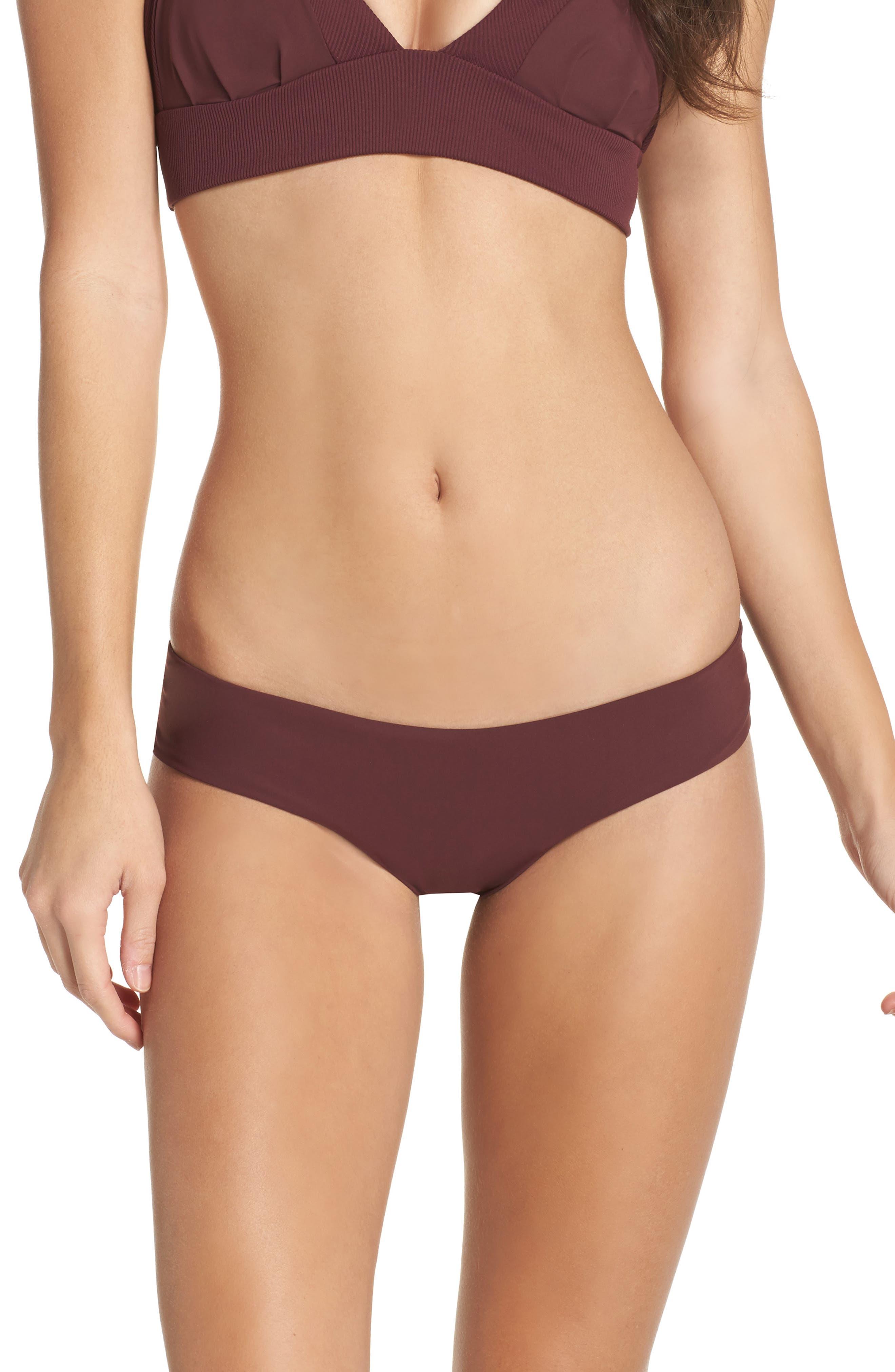 Yaya the Yuppy Bikini Bottoms,                         Main,                         color, Burgundy