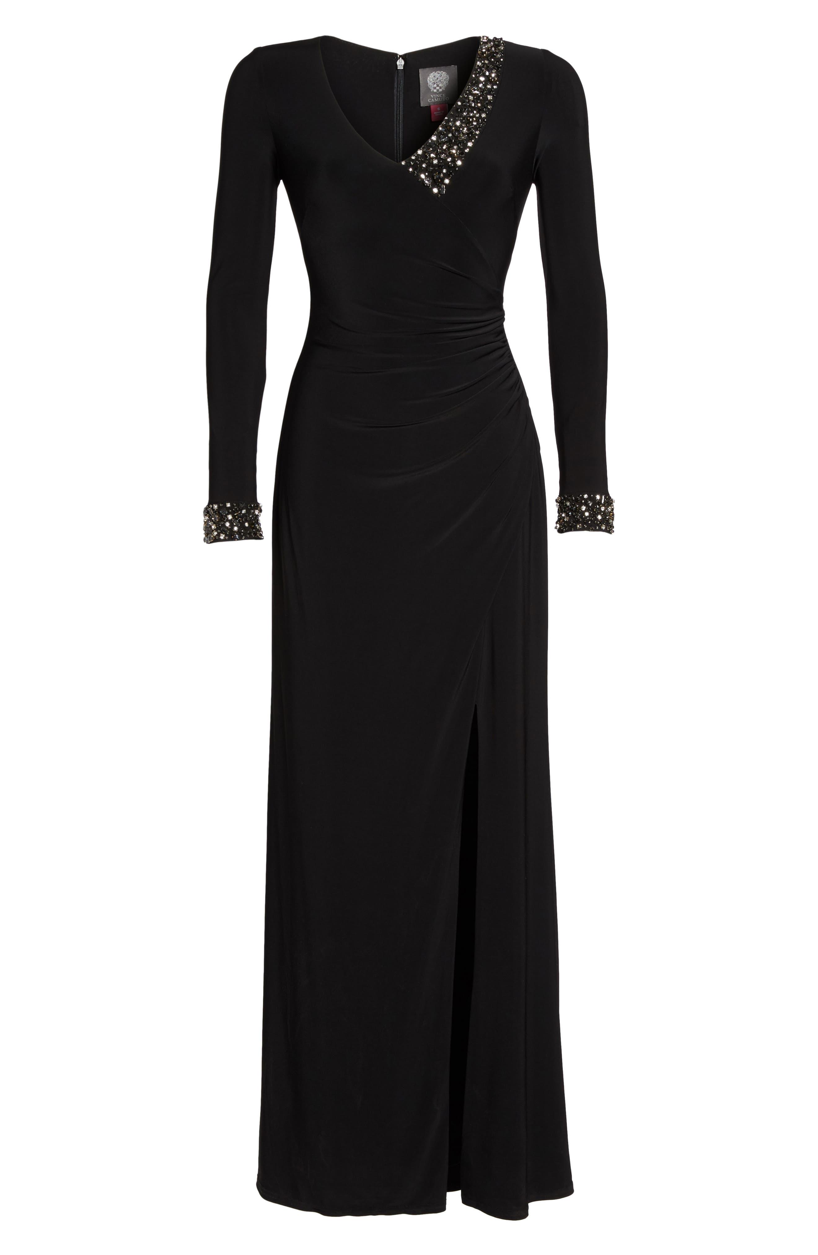 Embellished Side Tuck Jersey Gown,                             Alternate thumbnail 6, color,                             Black