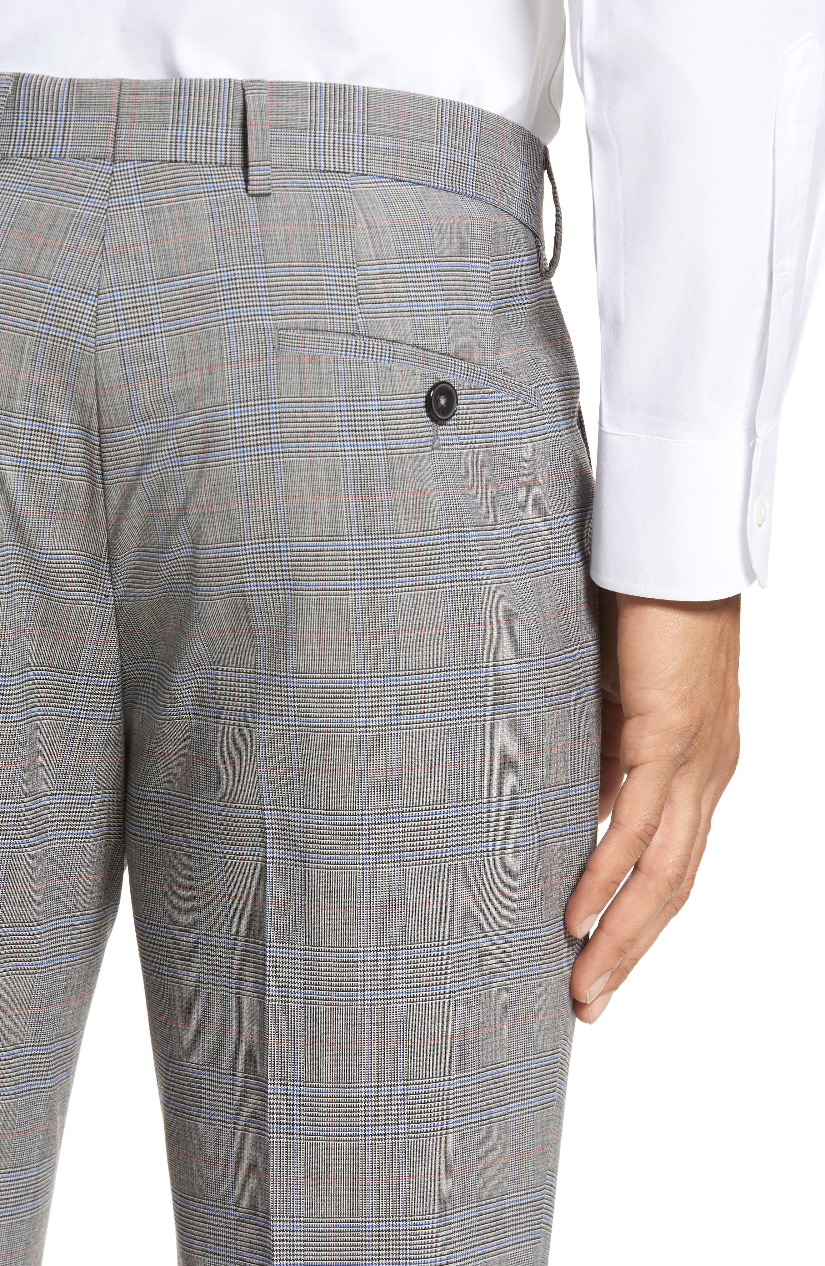 Benso Flat Front Plaid Wool Blend Trousers,                             Alternate thumbnail 4, color,                             Open Grey