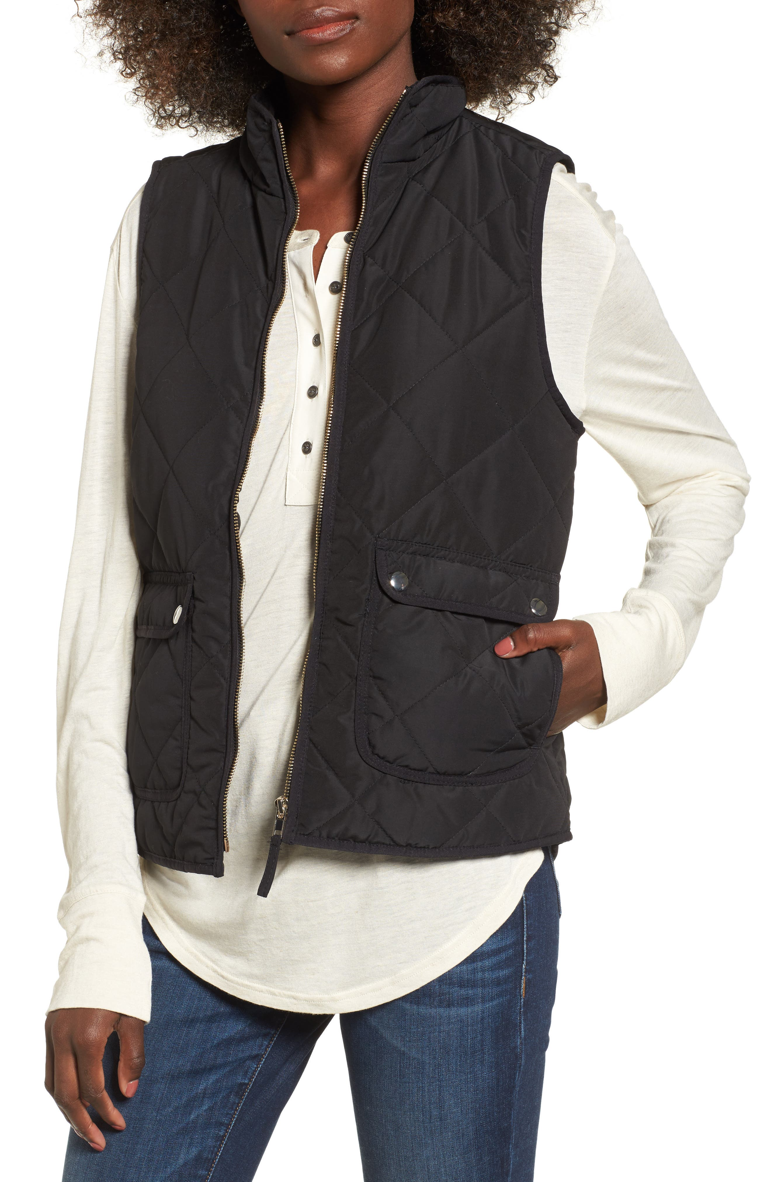 Wanderer Quilted Vest,                         Main,                         color, Black