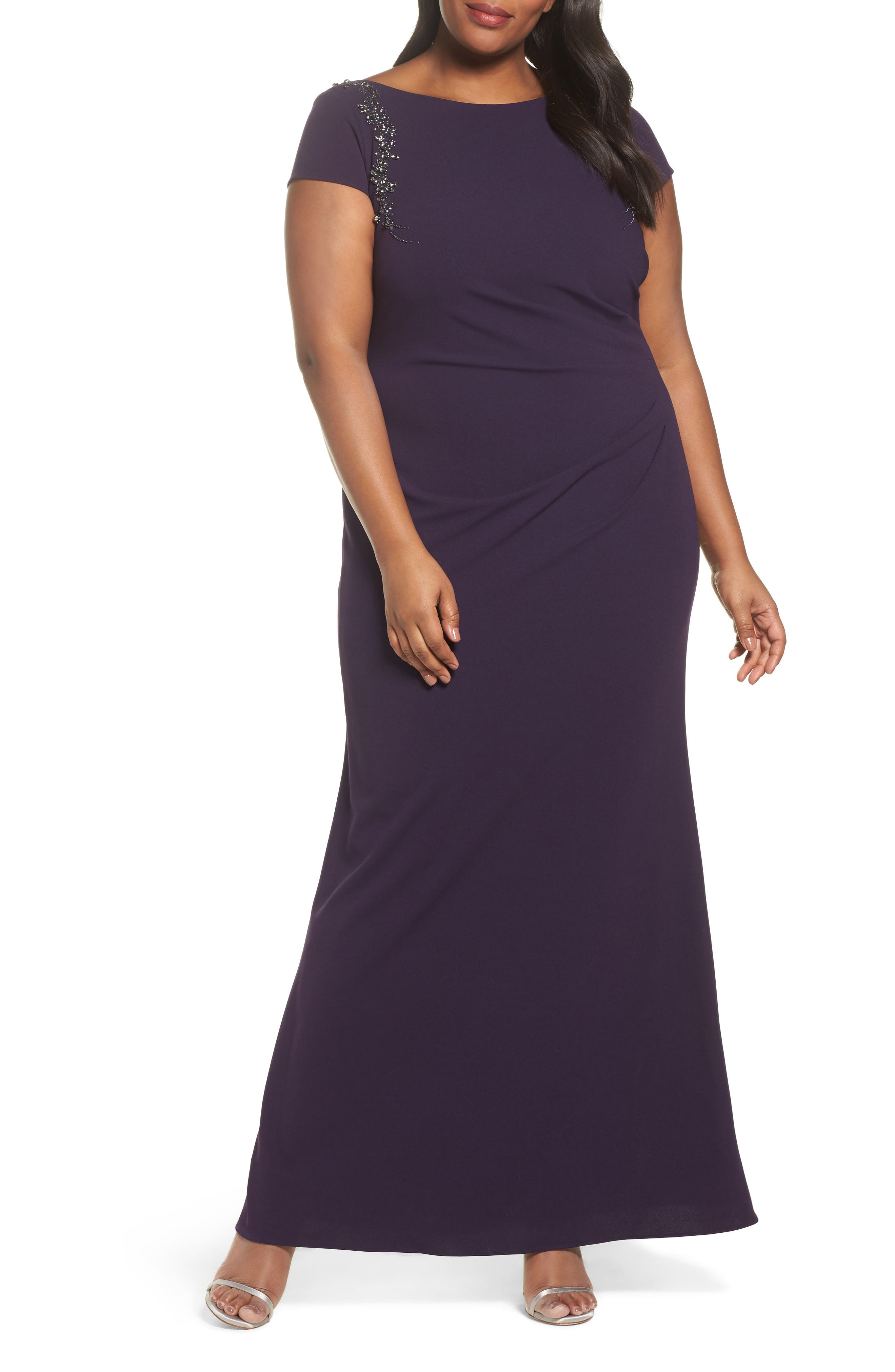 Adrianna Papell Long Beaded Shoulder Dress (Plus Size)