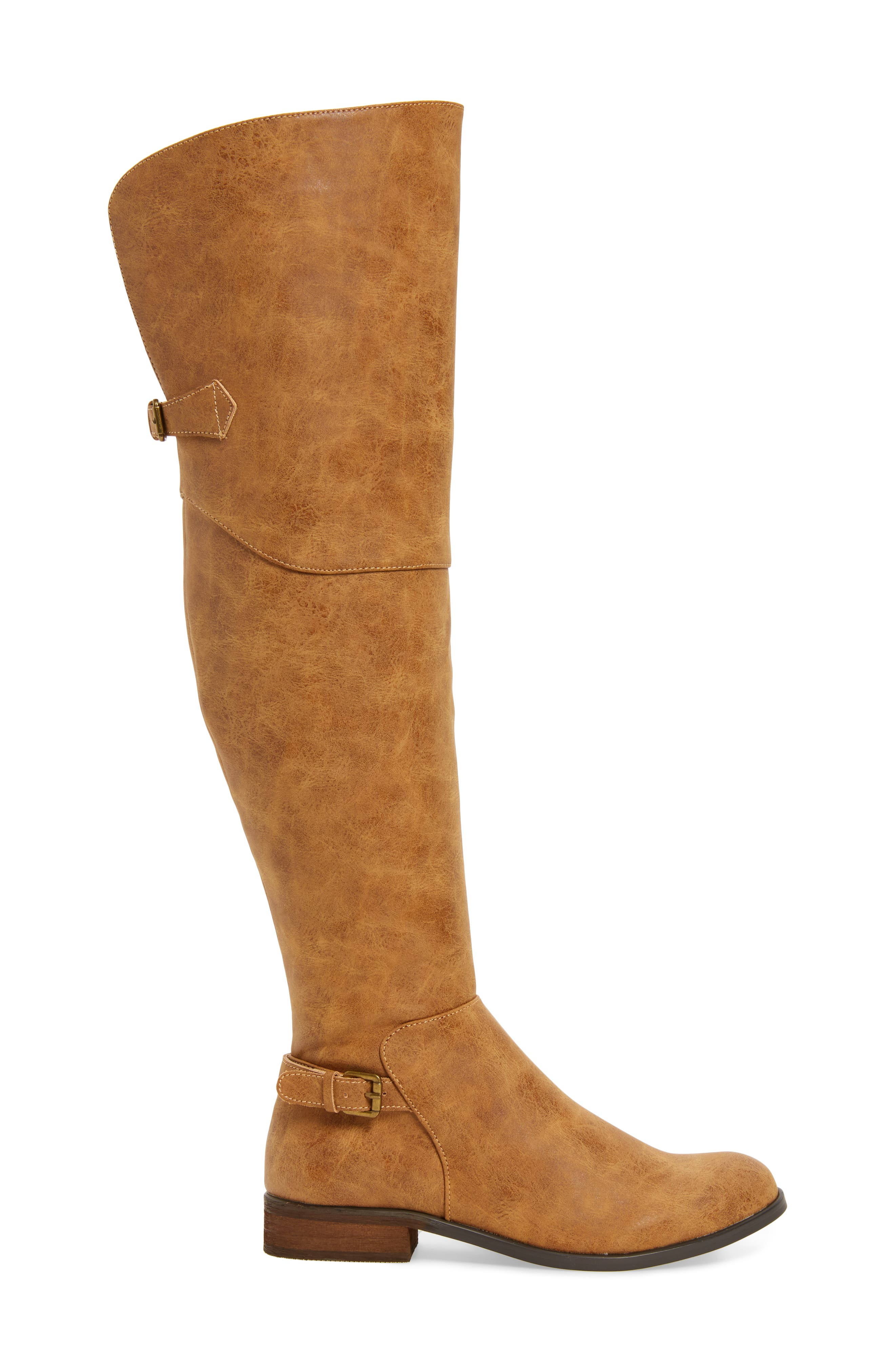 Otto Over the Knee Boot,                             Alternate thumbnail 3, color,                             Tan Faux Leather