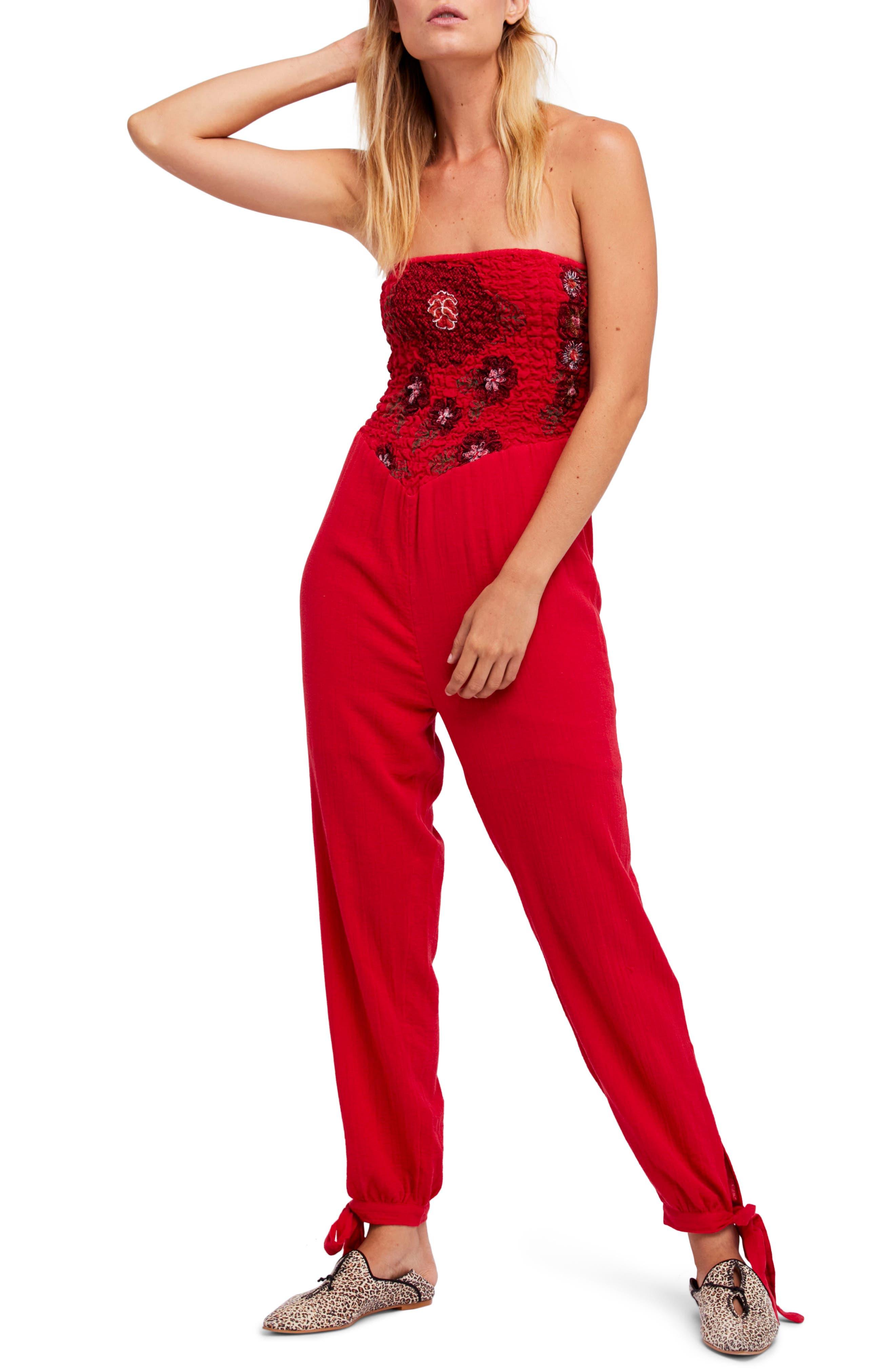Main Image - Free People Karan Strapless Smocked Jumpsuit