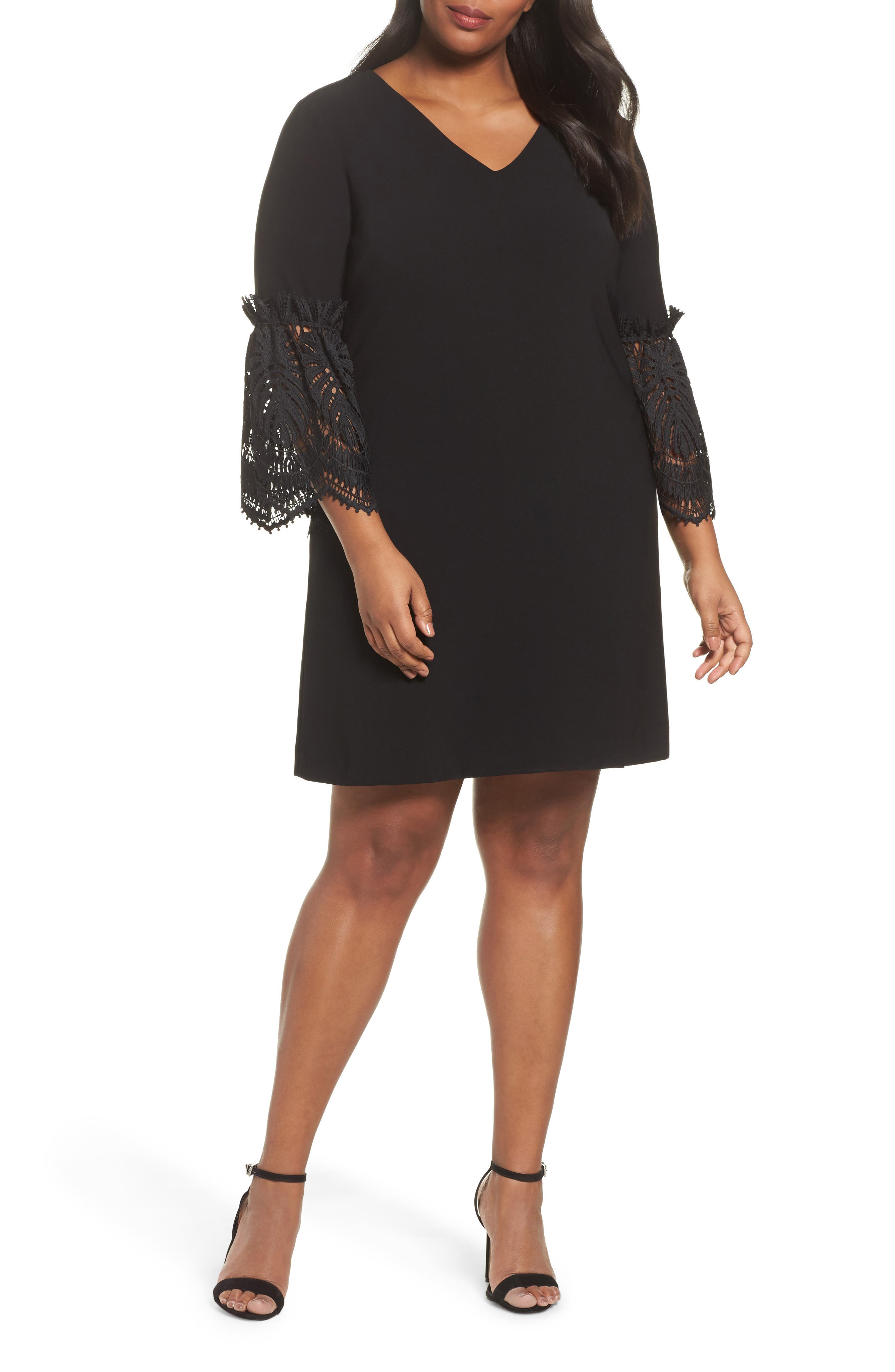 Lace Bell Sleeve Shift Dress,                             Main thumbnail 1, color,                             Black