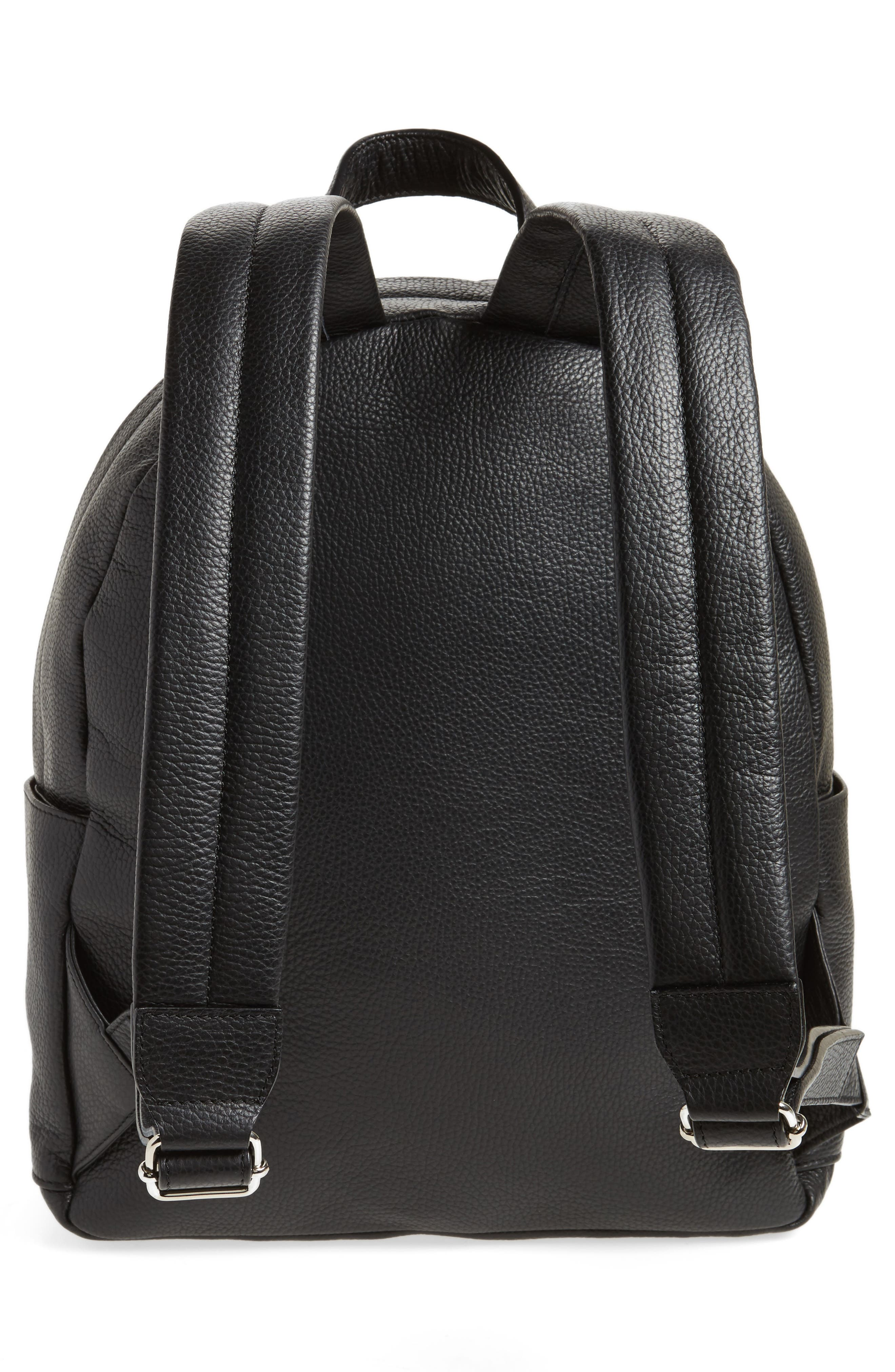 Leather Backpack,                             Alternate thumbnail 3, color,                             Black