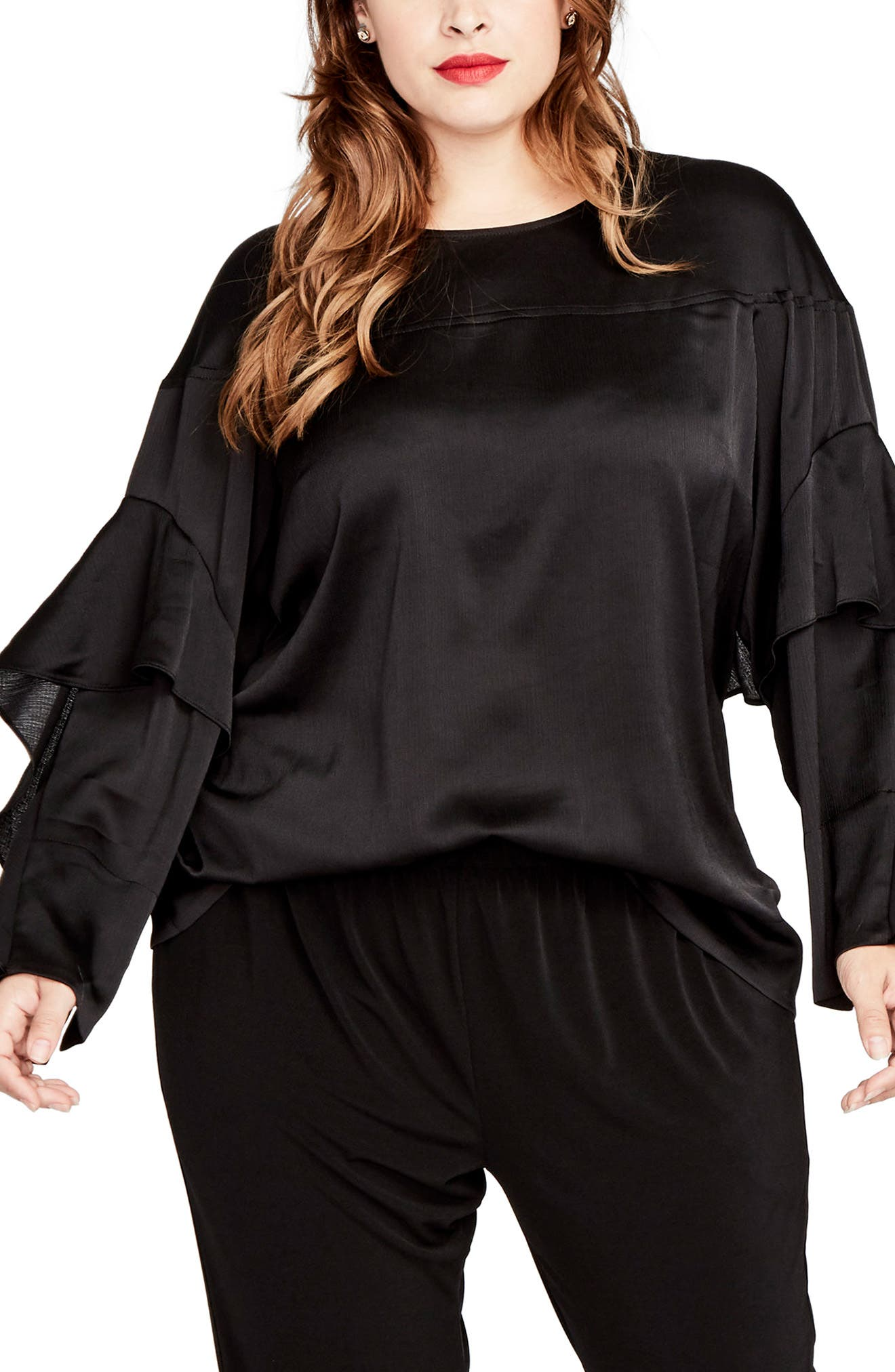 Ruffled Bell Sleeve Blouse,                         Main,                         color, Black