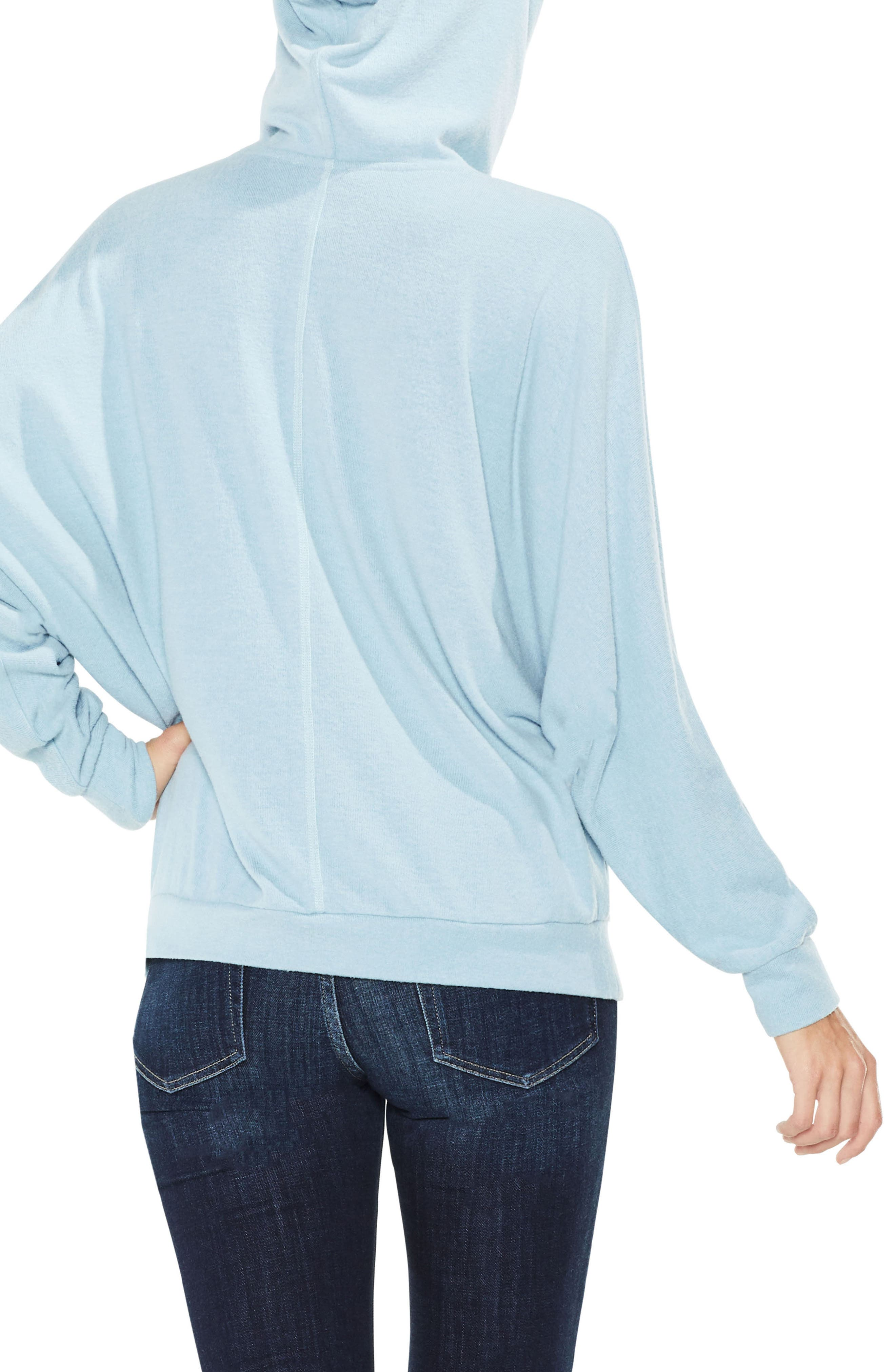 Dolman Sleeve Brushed Jersey Hoodie,                             Alternate thumbnail 3, color,                             Soft Skies