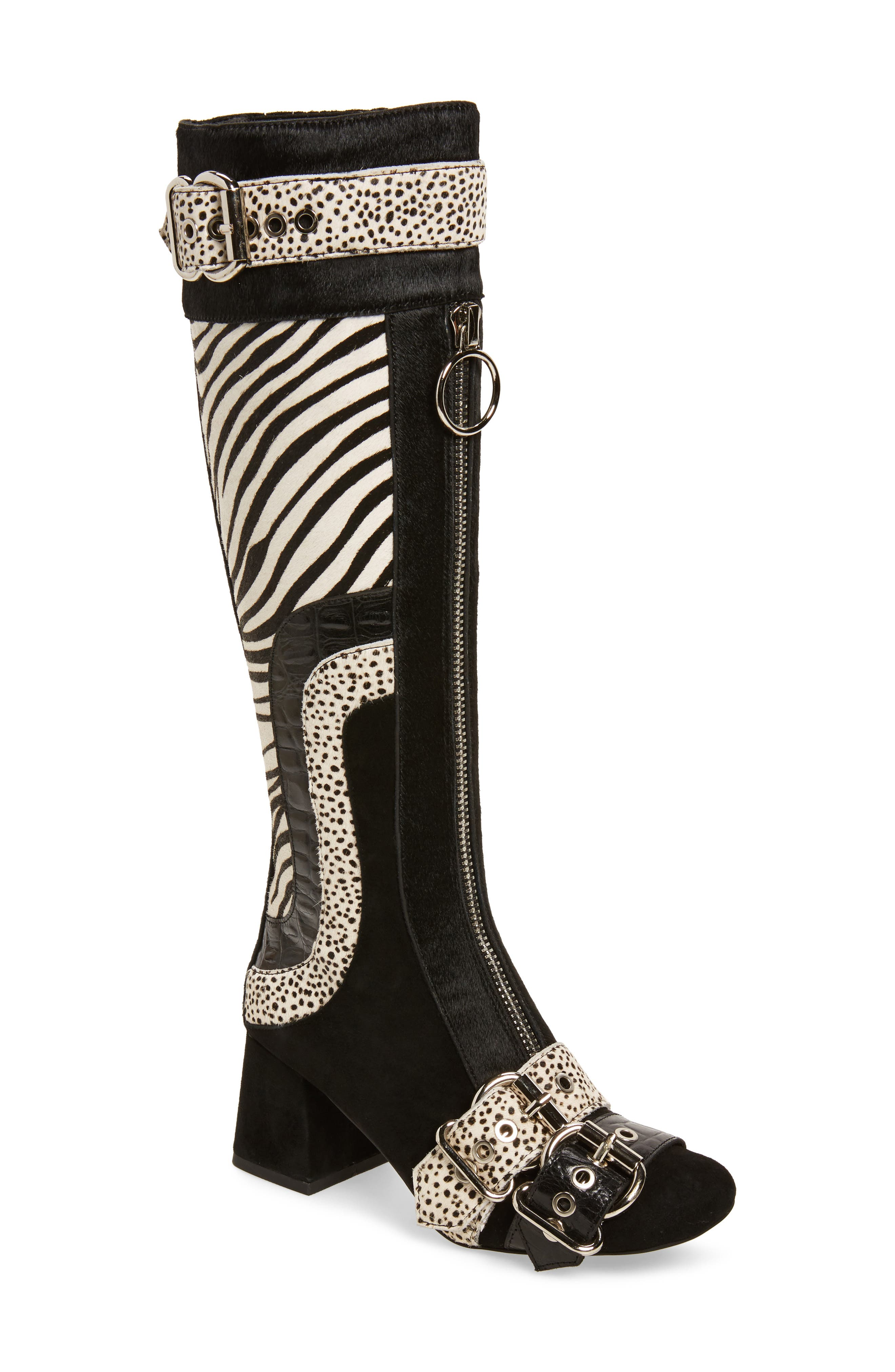 Peggy Genuine Calf Hair Boot,                             Main thumbnail 1, color,                             Black Suede Animal Multi
