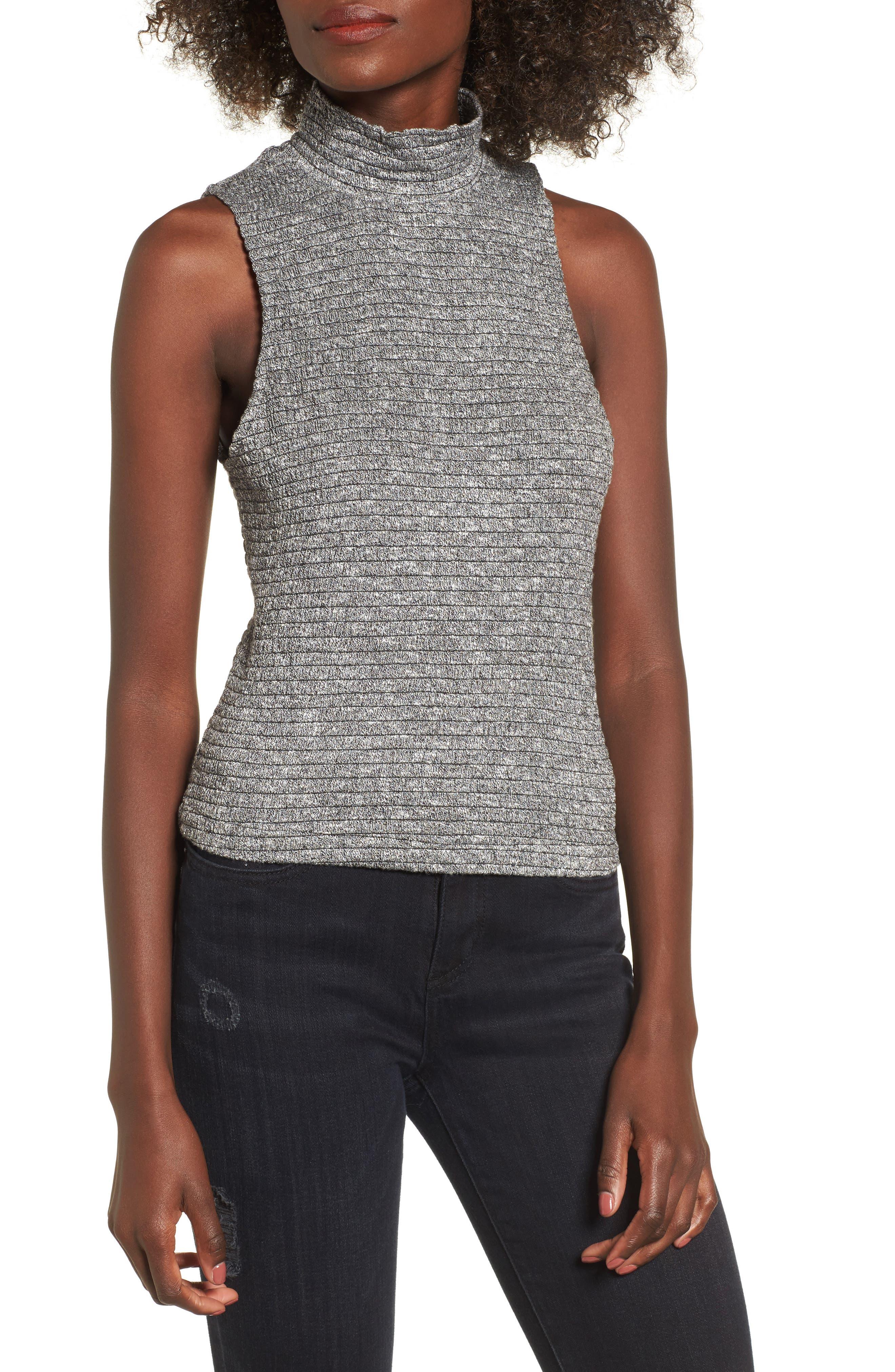 Smocked Knit Tank Top,                         Main,                         color, Grey