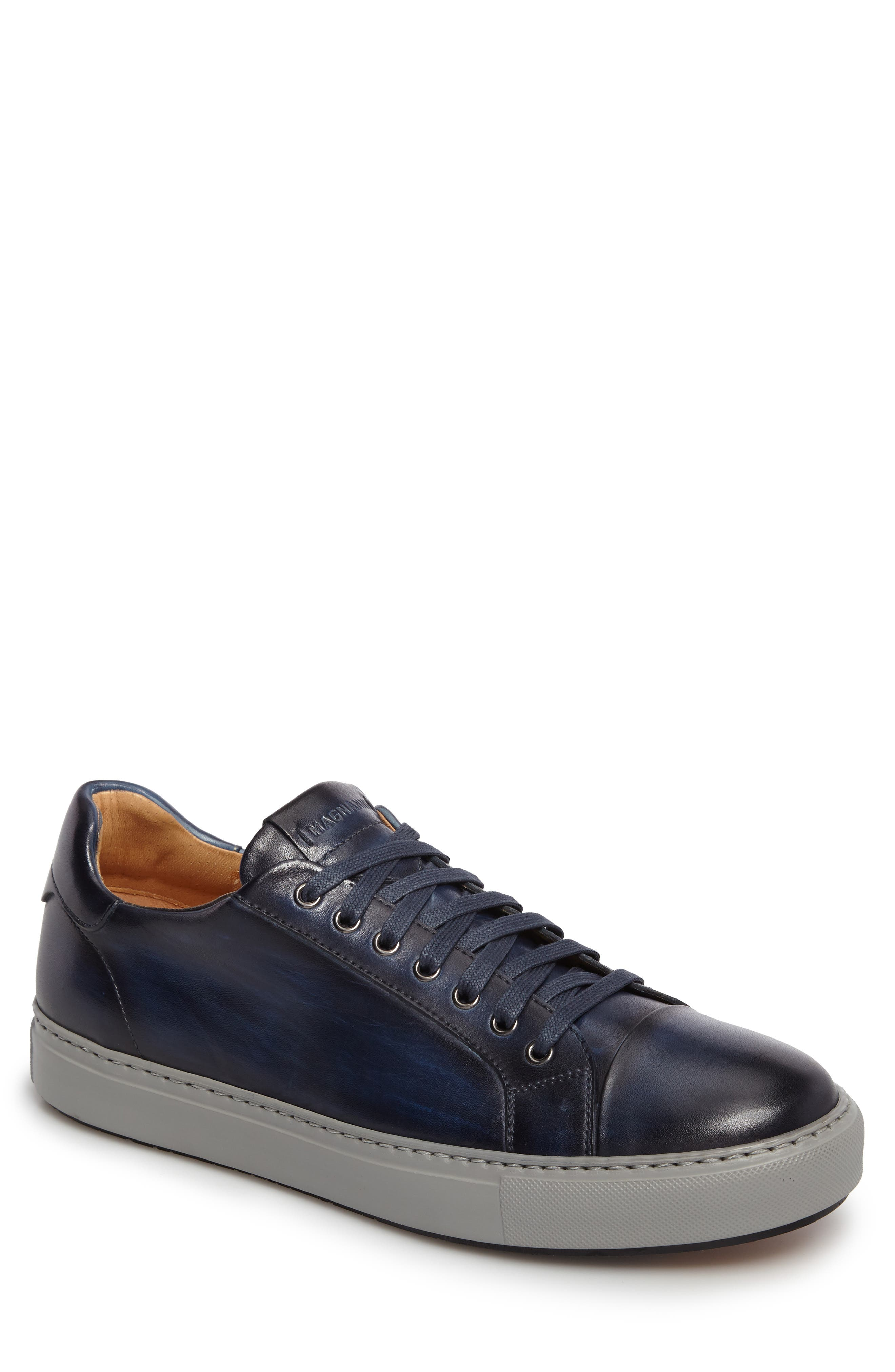 Kaden Lo Sneaker,                         Main,                         color, Brushed Navy Leather