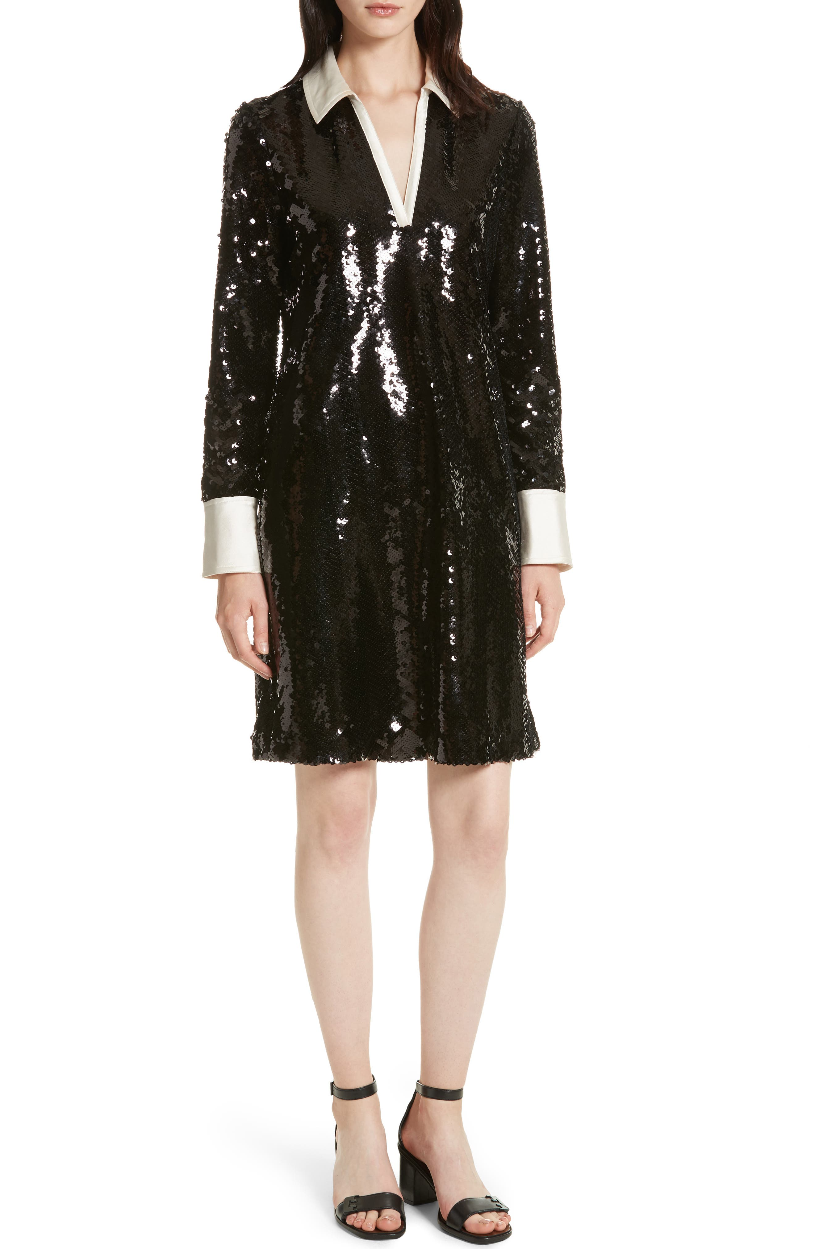 Monica Sequin Dress,                             Main thumbnail 1, color,                             Black