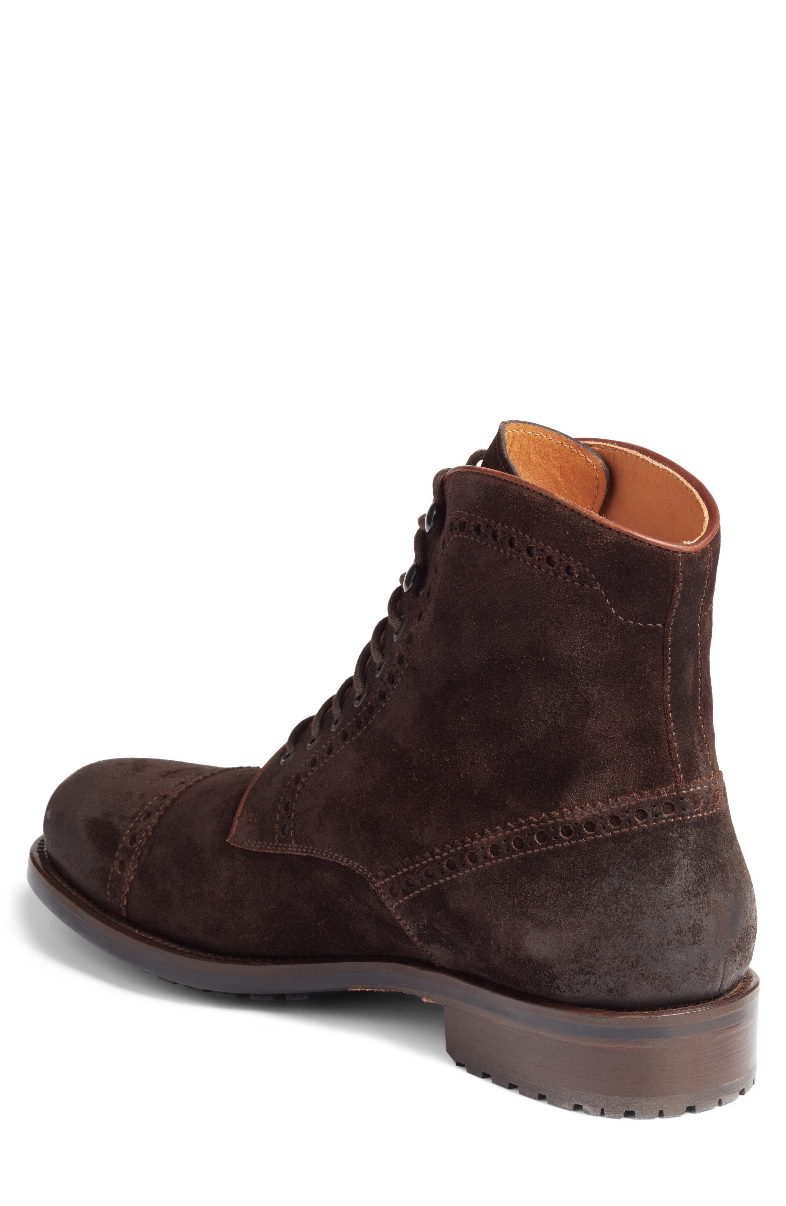 Palmer Cap Toe Boot,                             Alternate thumbnail 2, color,                             Brown Suede