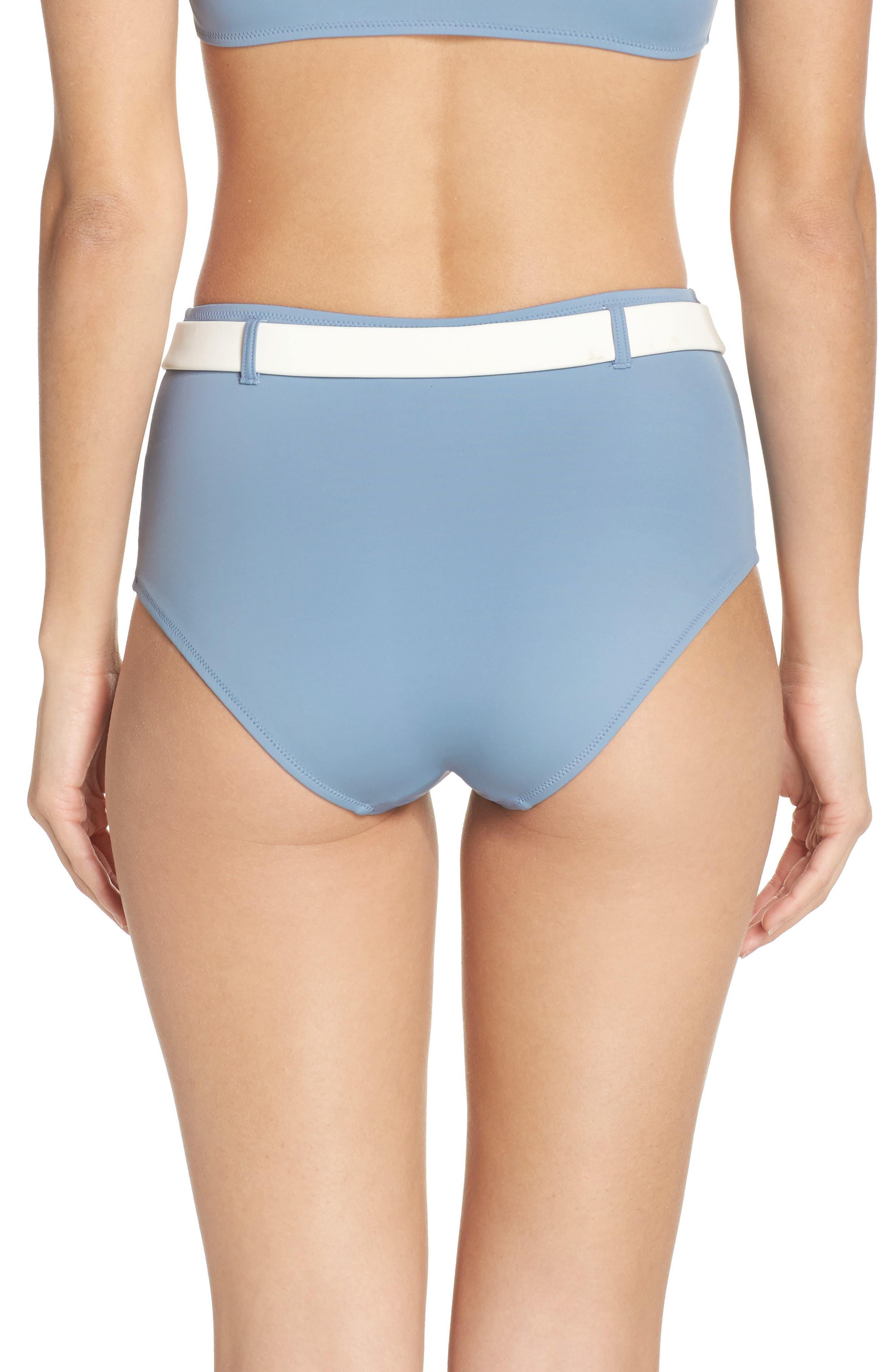 The Quinn Belted High Waist Bikini Bottoms,                             Alternate thumbnail 2, color,                             Ice