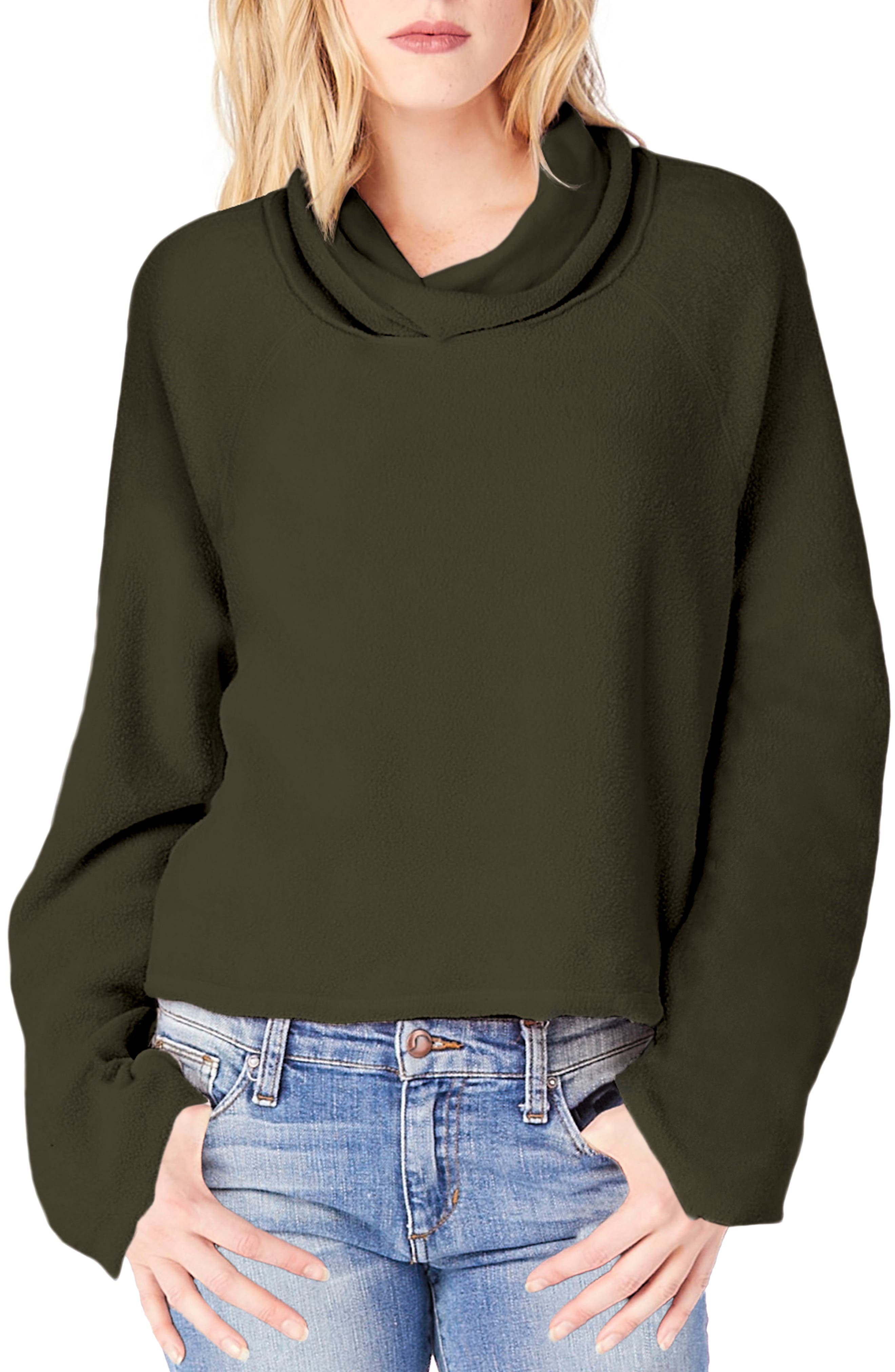 Reversible Raglan Sleeve Turtleneck Sweater,                         Main,                         color, Loden