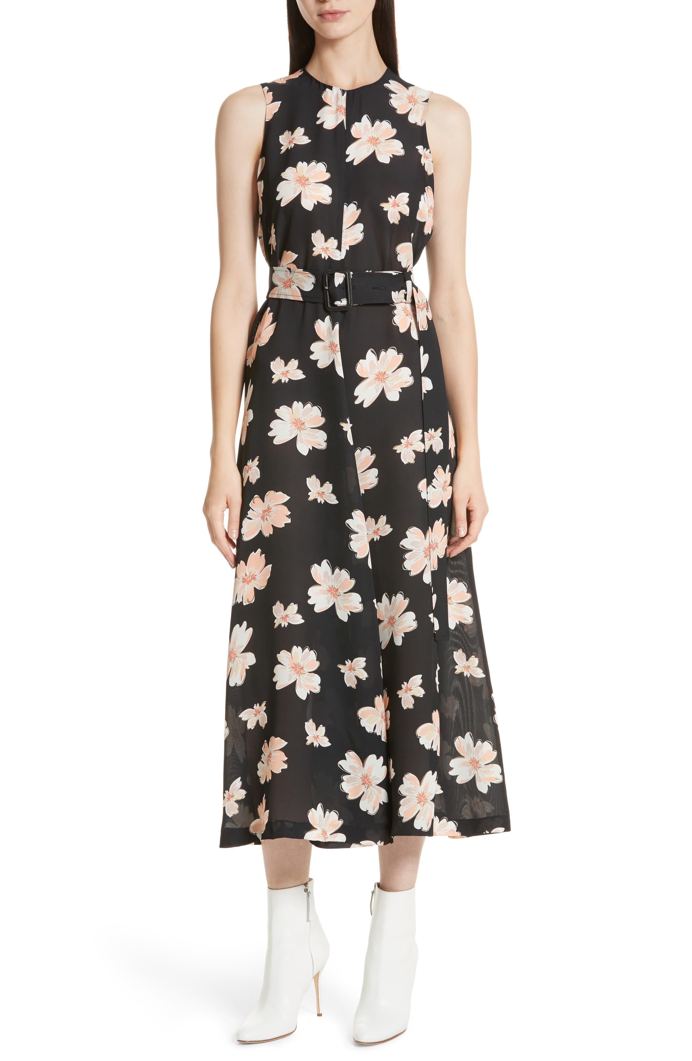 Arka Winterfloral Belted Midi Dress,                         Main,                         color, Black Multi