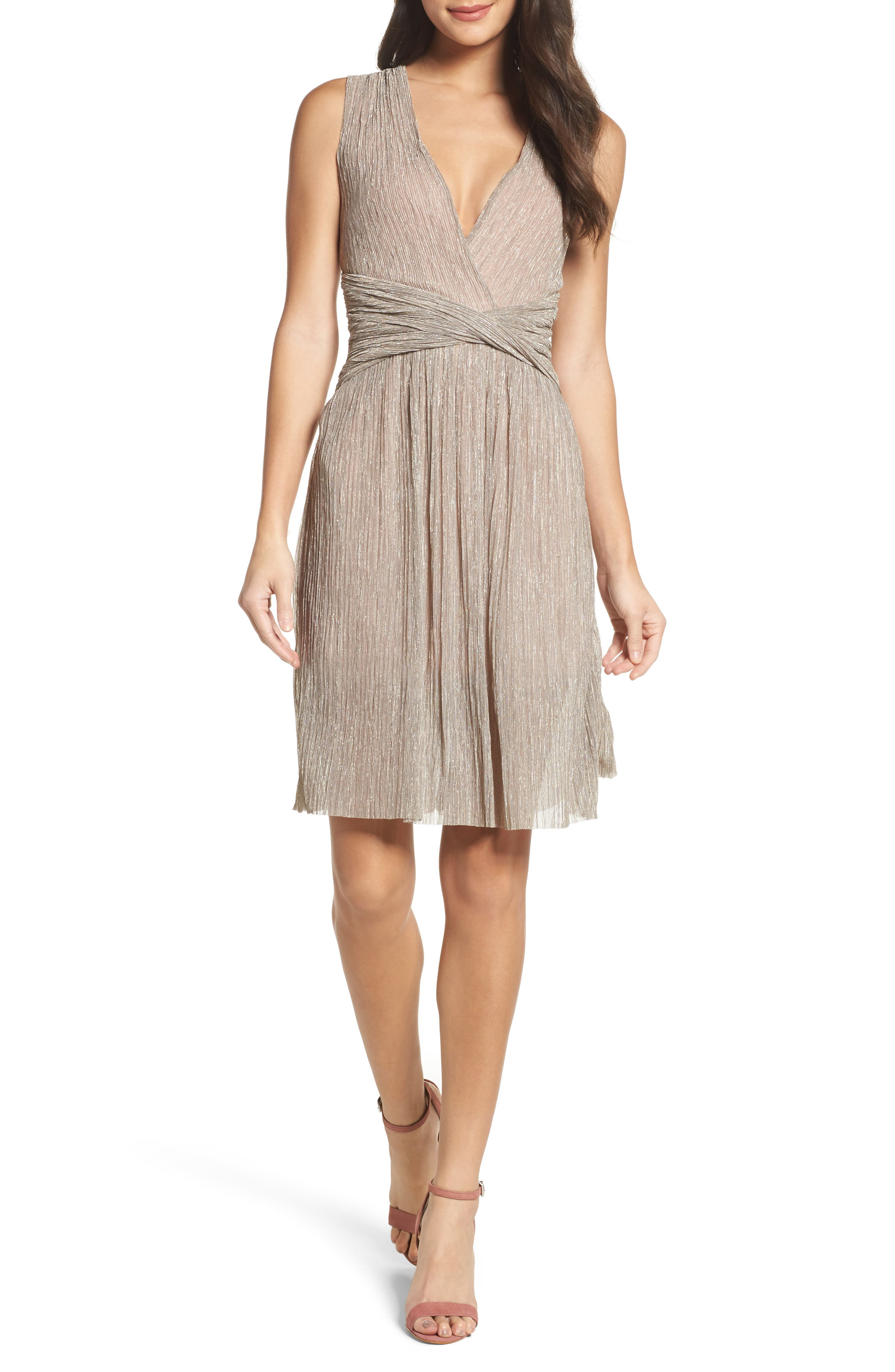 Marcelle Fit & Flare Dress,                         Main,                         color, Gold