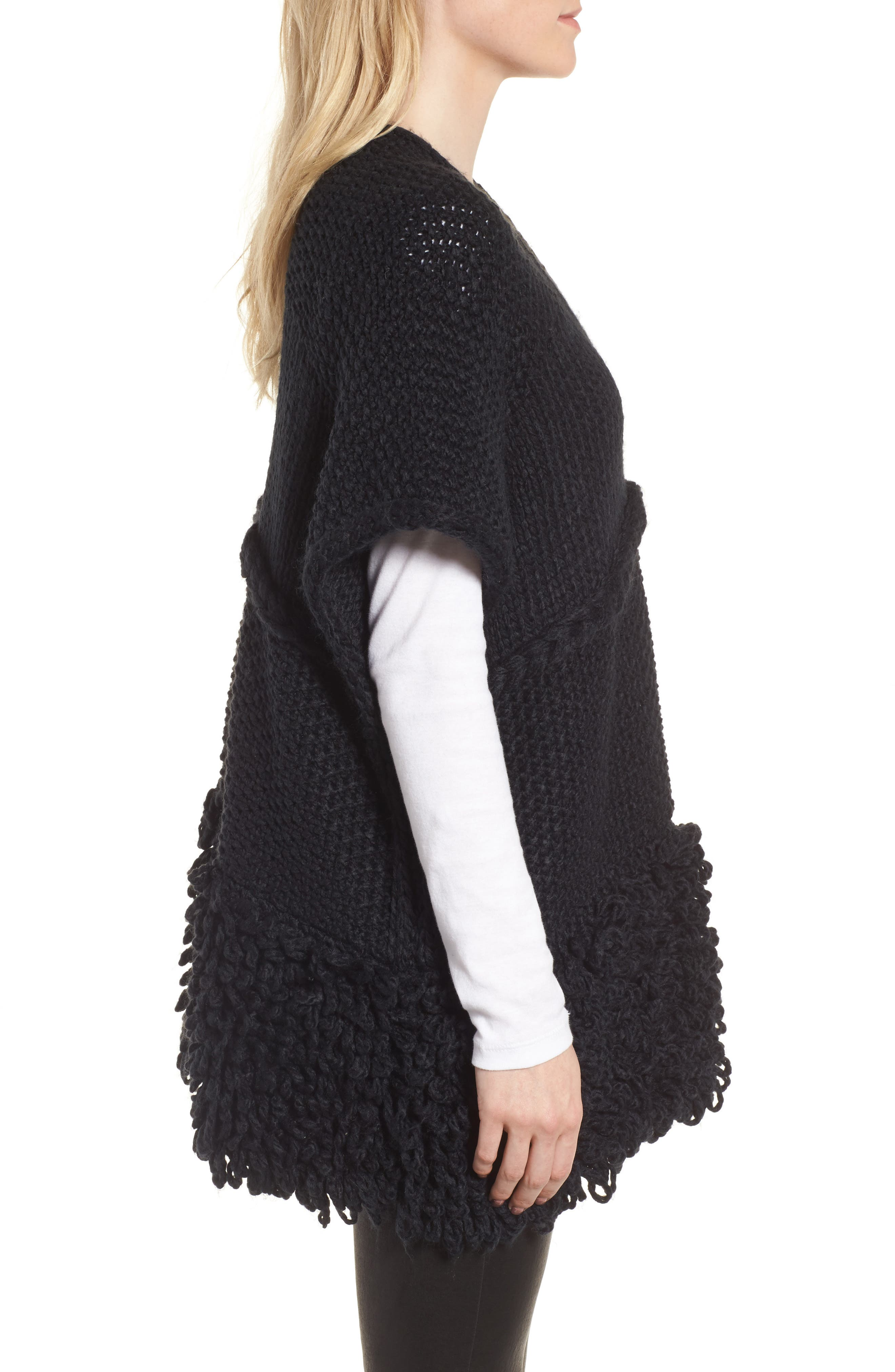 Knit Poncho,                             Alternate thumbnail 3, color,                             Black