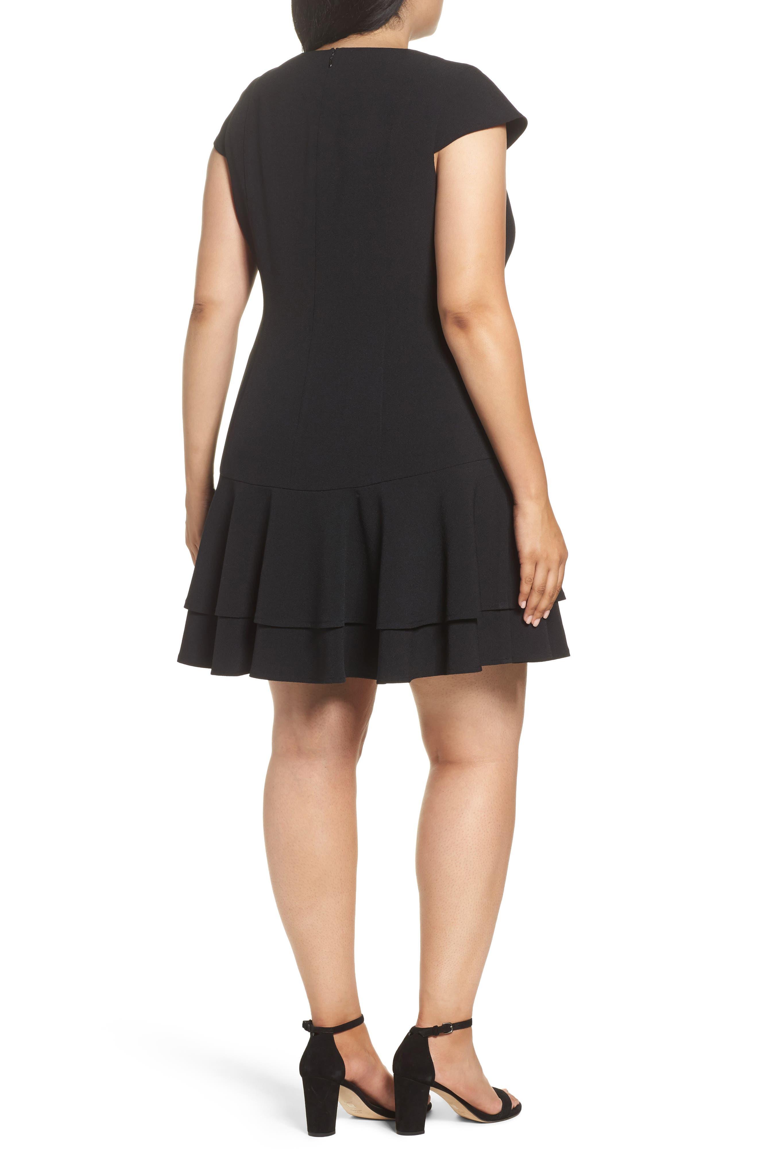 Crepe Drop Waist Dress,                             Alternate thumbnail 2, color,                             Black